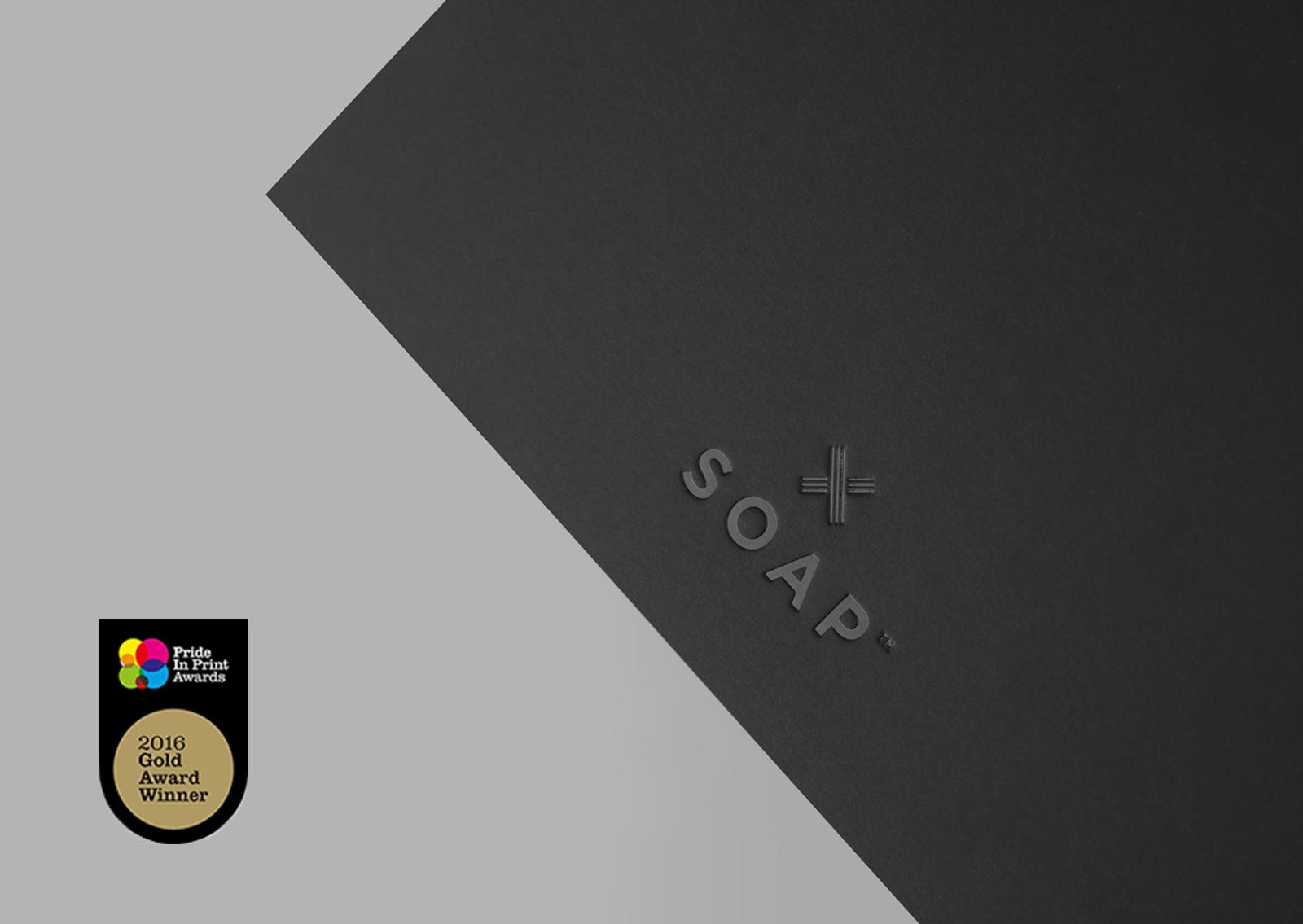 Soap™ Design Close up of award winning black embossed card