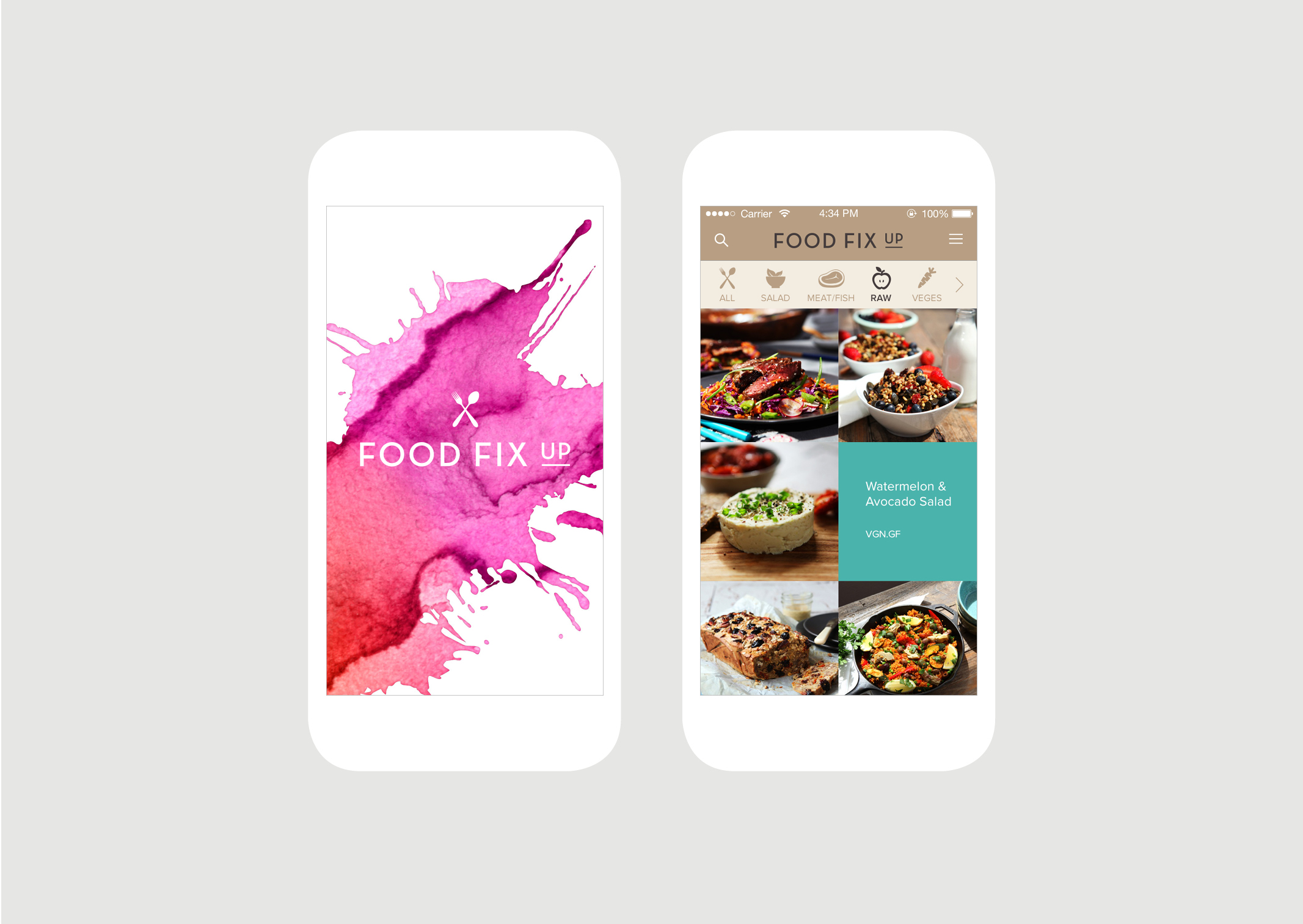 Food Fix Up App Splash screen and main Recipe screens feature delicious food photography