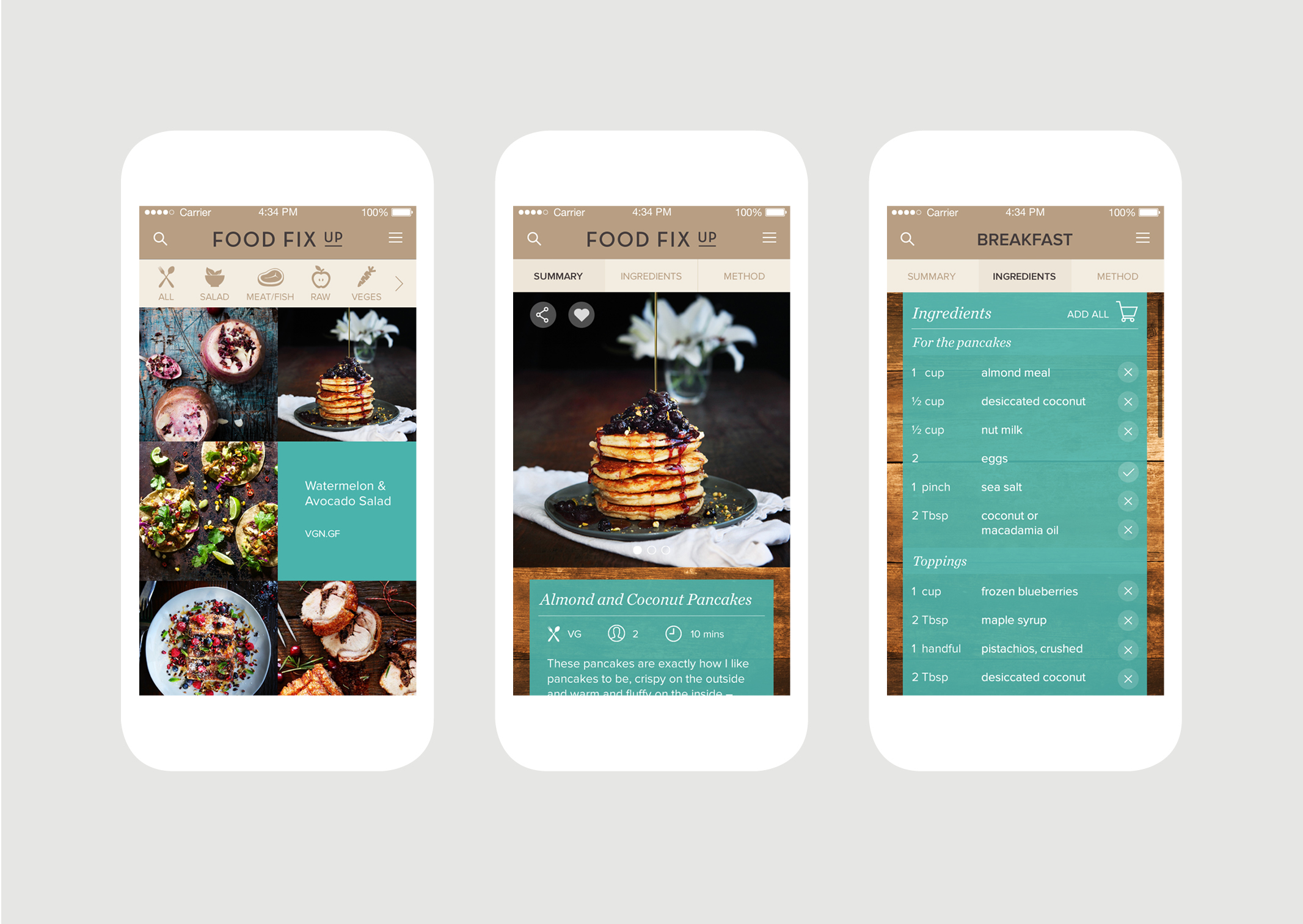 Food Fix Up App Recipe screens features delicious food photography summary and ingredients