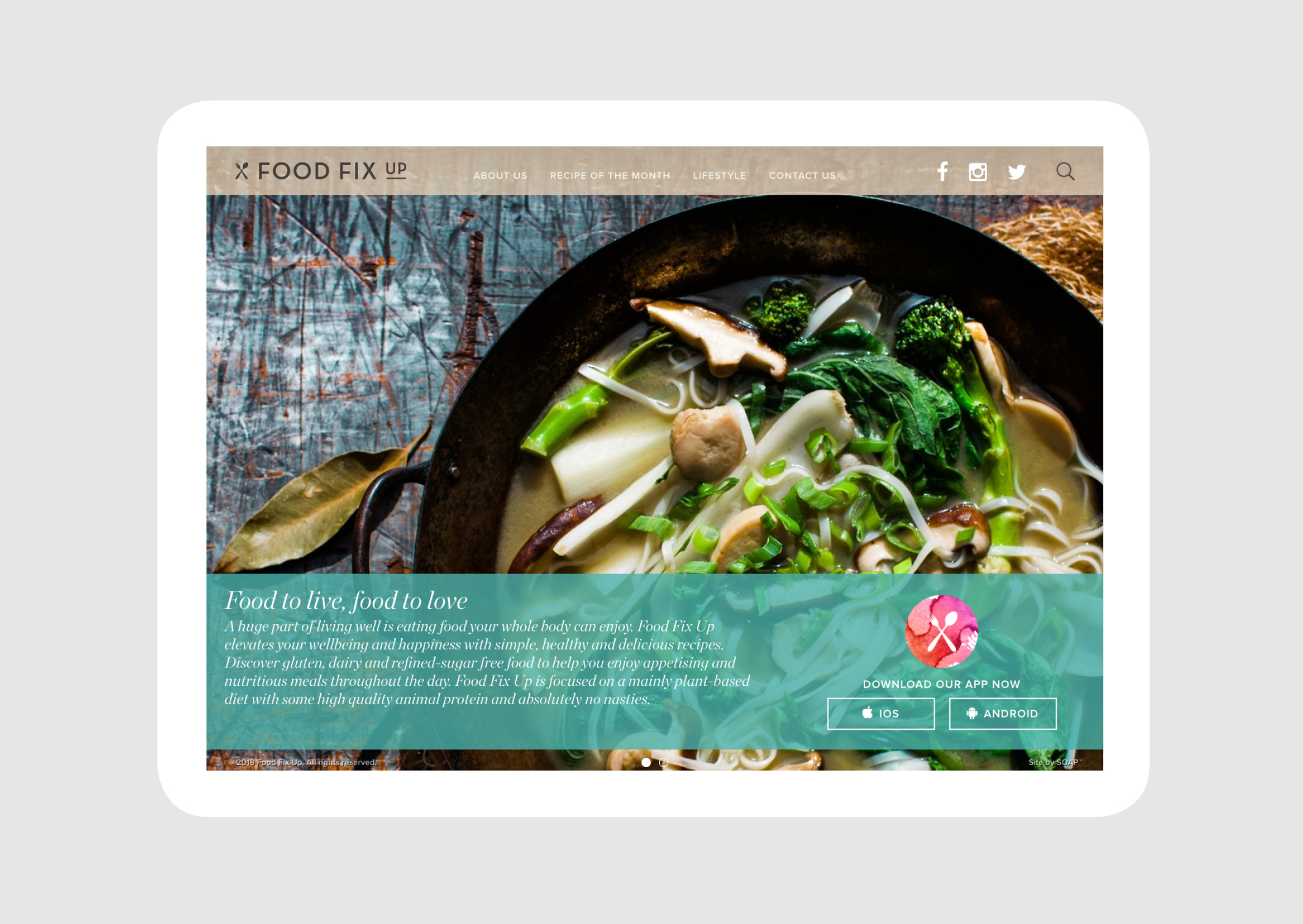 Food Fix Up Home page features delicious food photography and app store download link