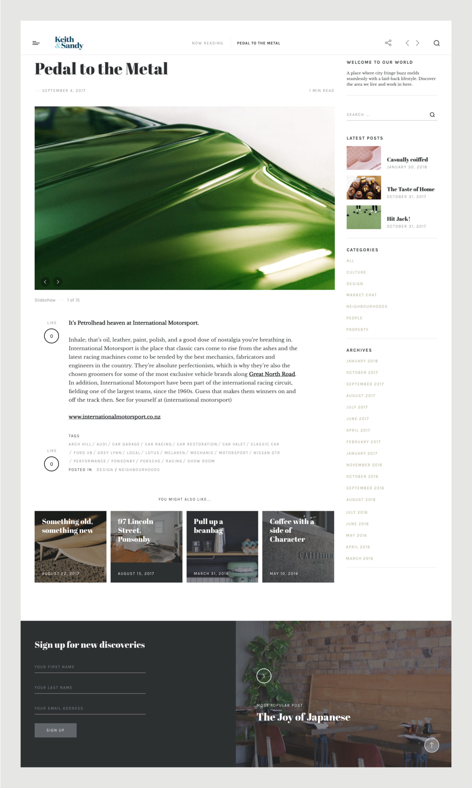 Website blog featuring emerald green close up of car bonnet