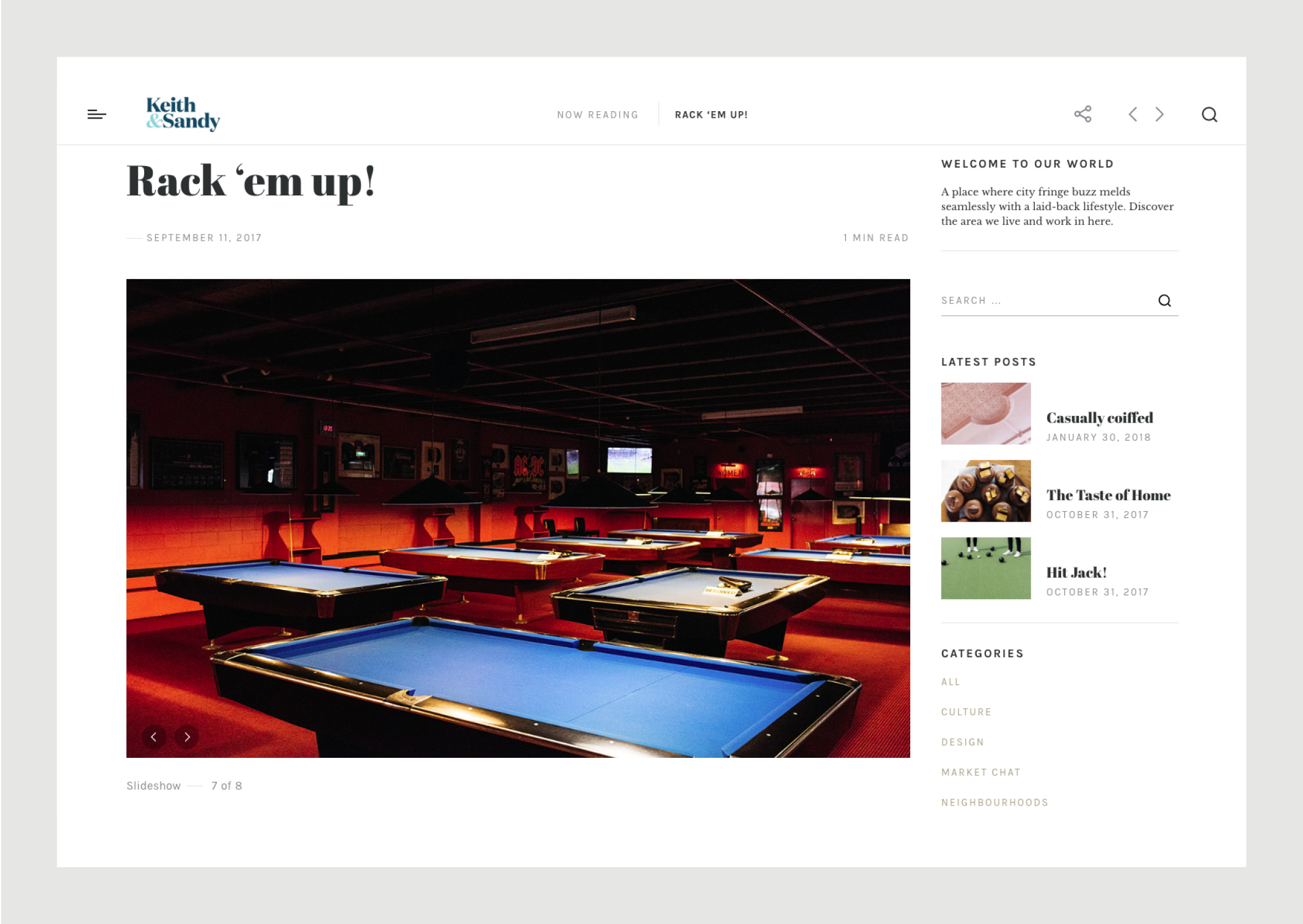 Website blog featuring dramatically lit pool tables