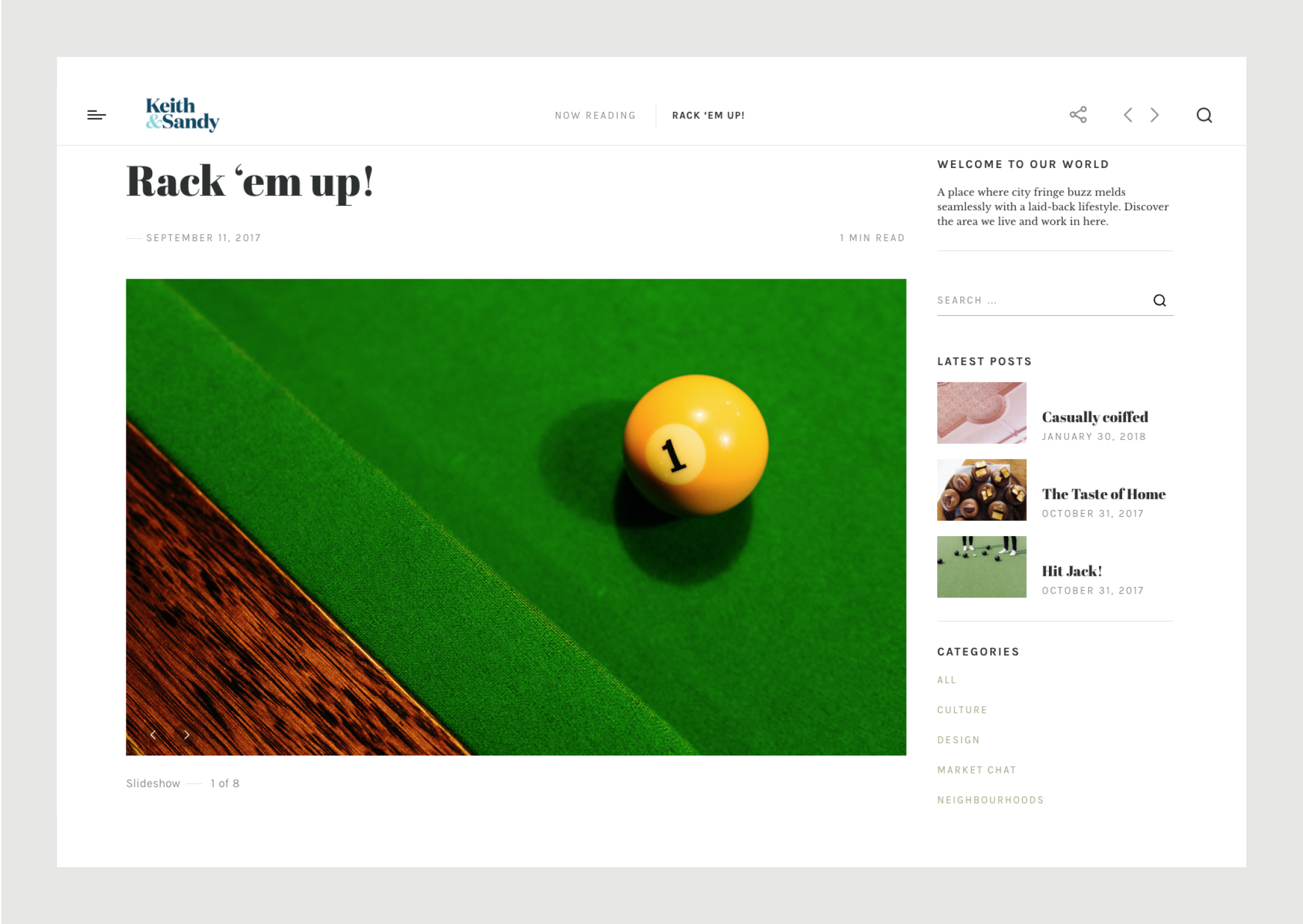 Website blog featuring dramatic close up of yellow ball on green baize of pool tables