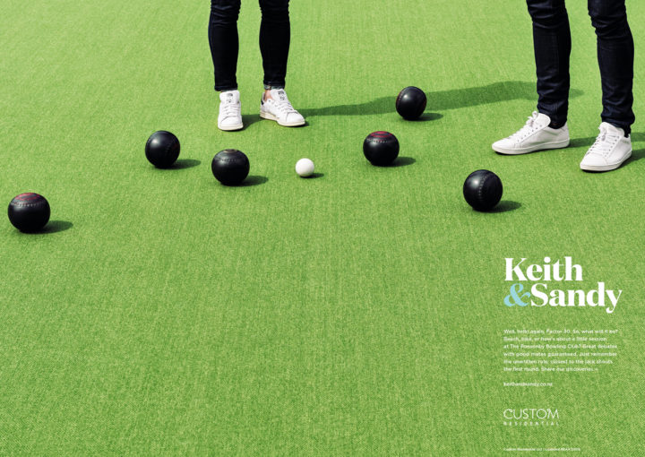 Keith and Sandy branding – Denizen – designer trainers and bowling balls on expansive bowling green