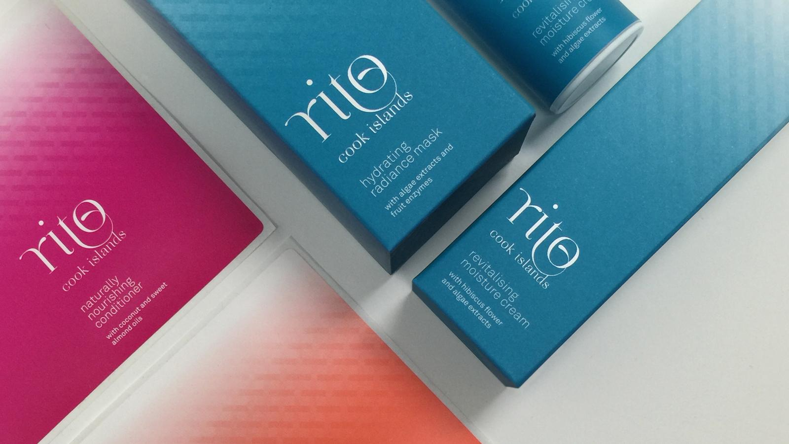 Vibrant Pacifica colours and a modern weaving pattern differentiate Rito Cook Islands skincare packaging