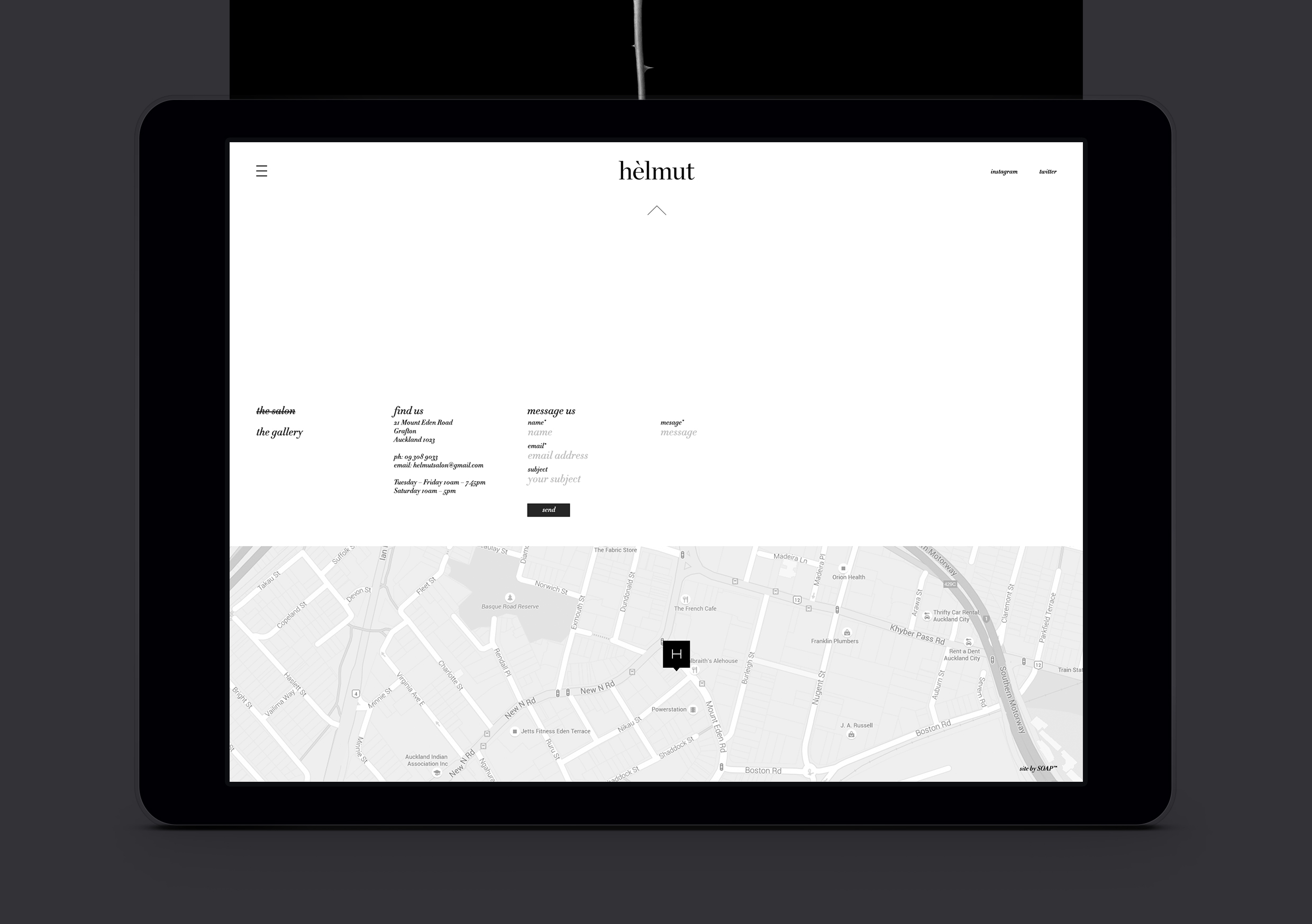 Helmut Salon website contact page showing map and elegant type