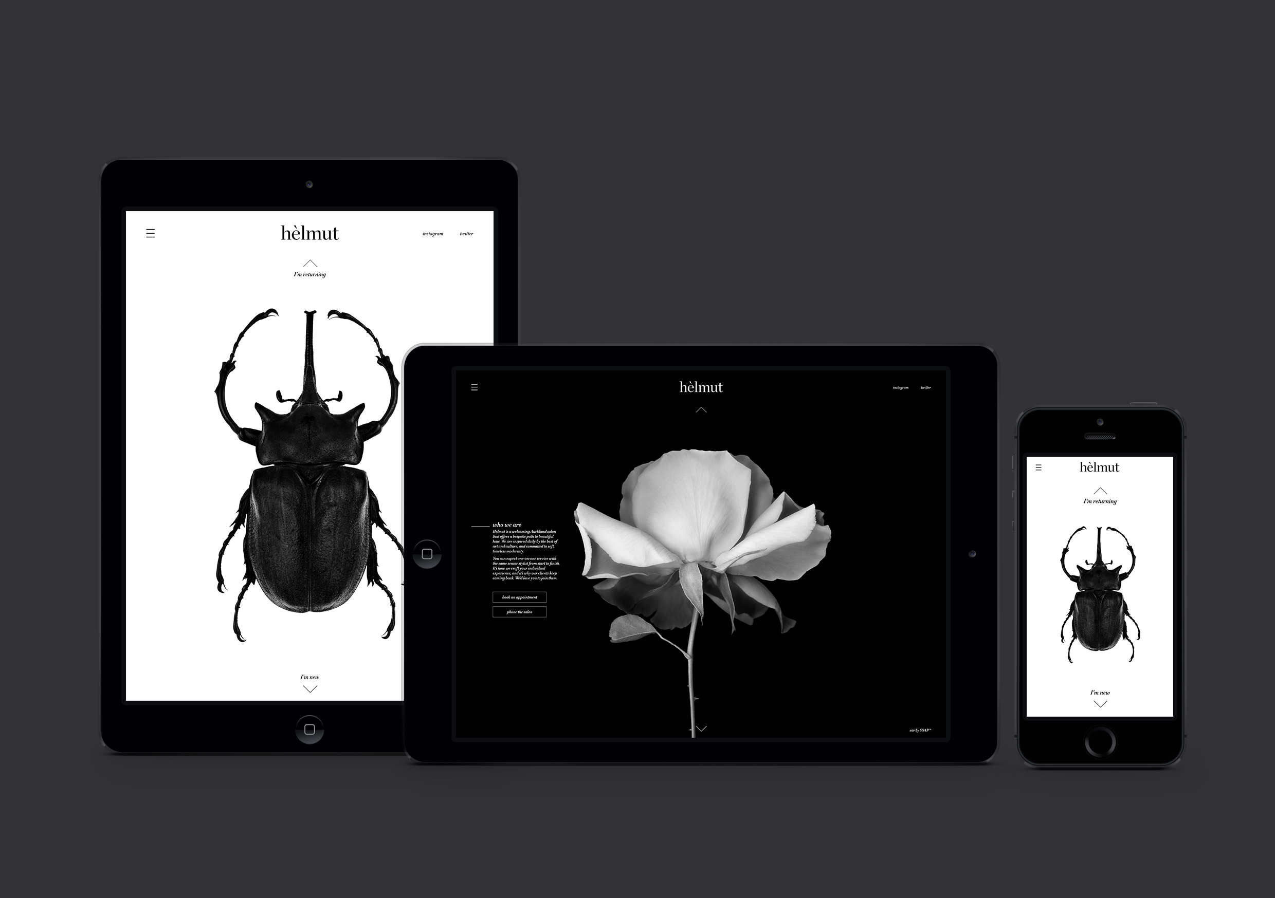 Helmut Salon website home and booking pages on multiple devices