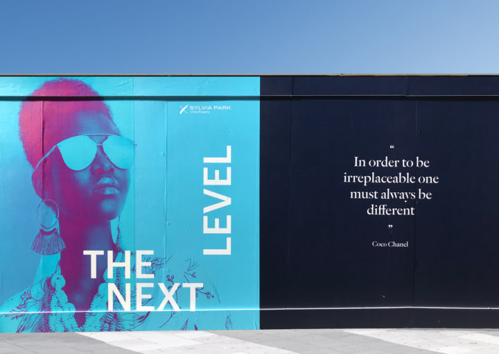 Eye-catching quote on hoarding design for Sylvia Park
