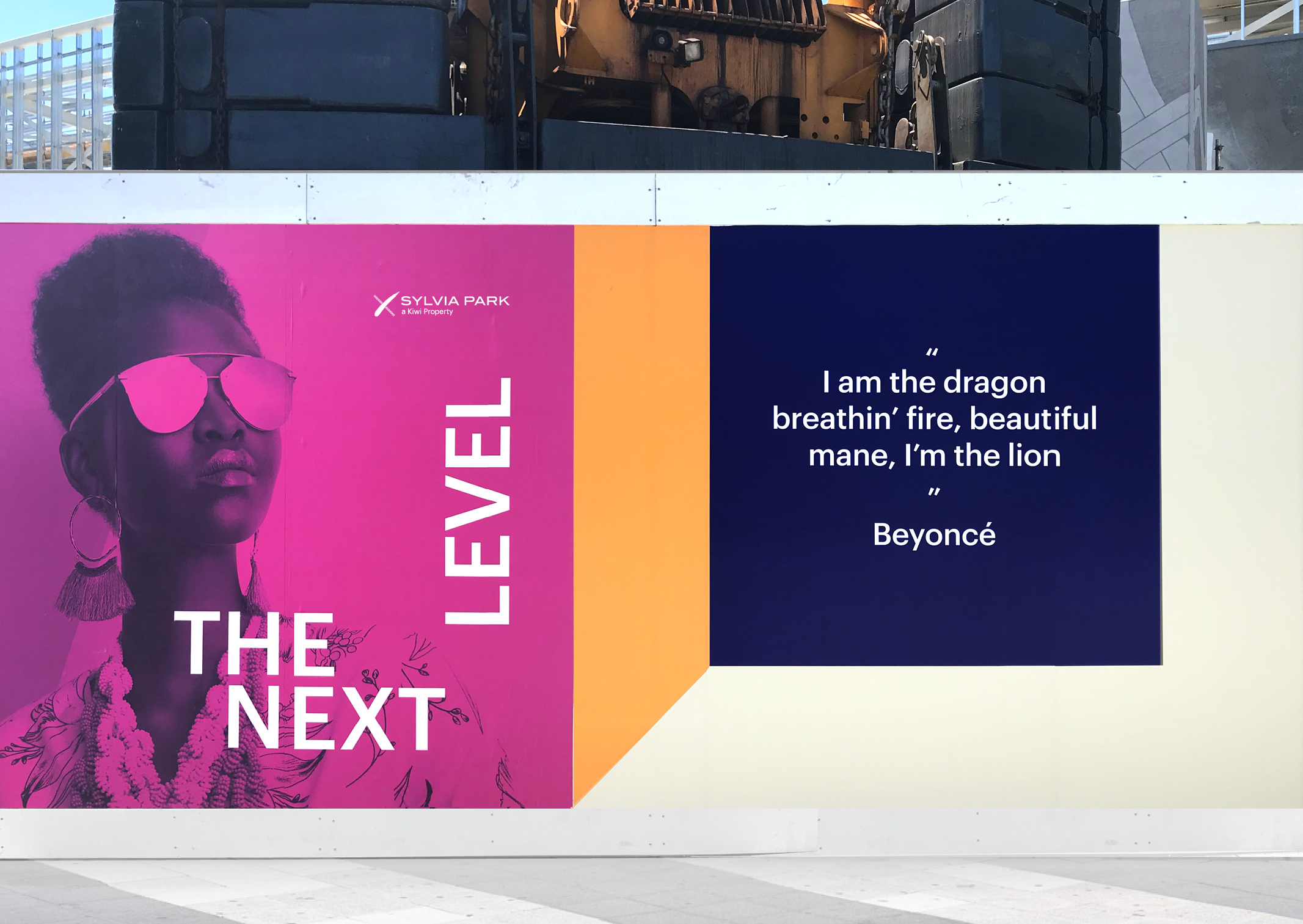 Close up of eye catching hoarding series for Sylvia Park Mall featuring Next Level Identifier and quote