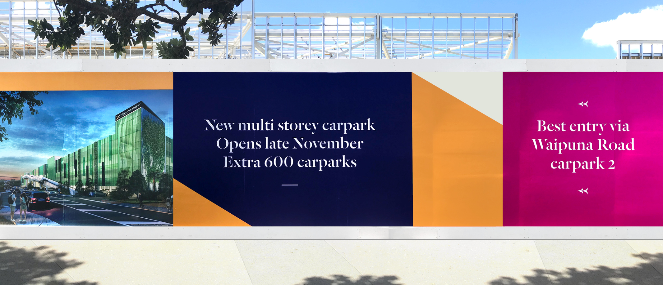 Close up of eye catching and sophisticated hoarding series for Sylvia Park Mall featuring artist's impression of new carpark building and directional messaging