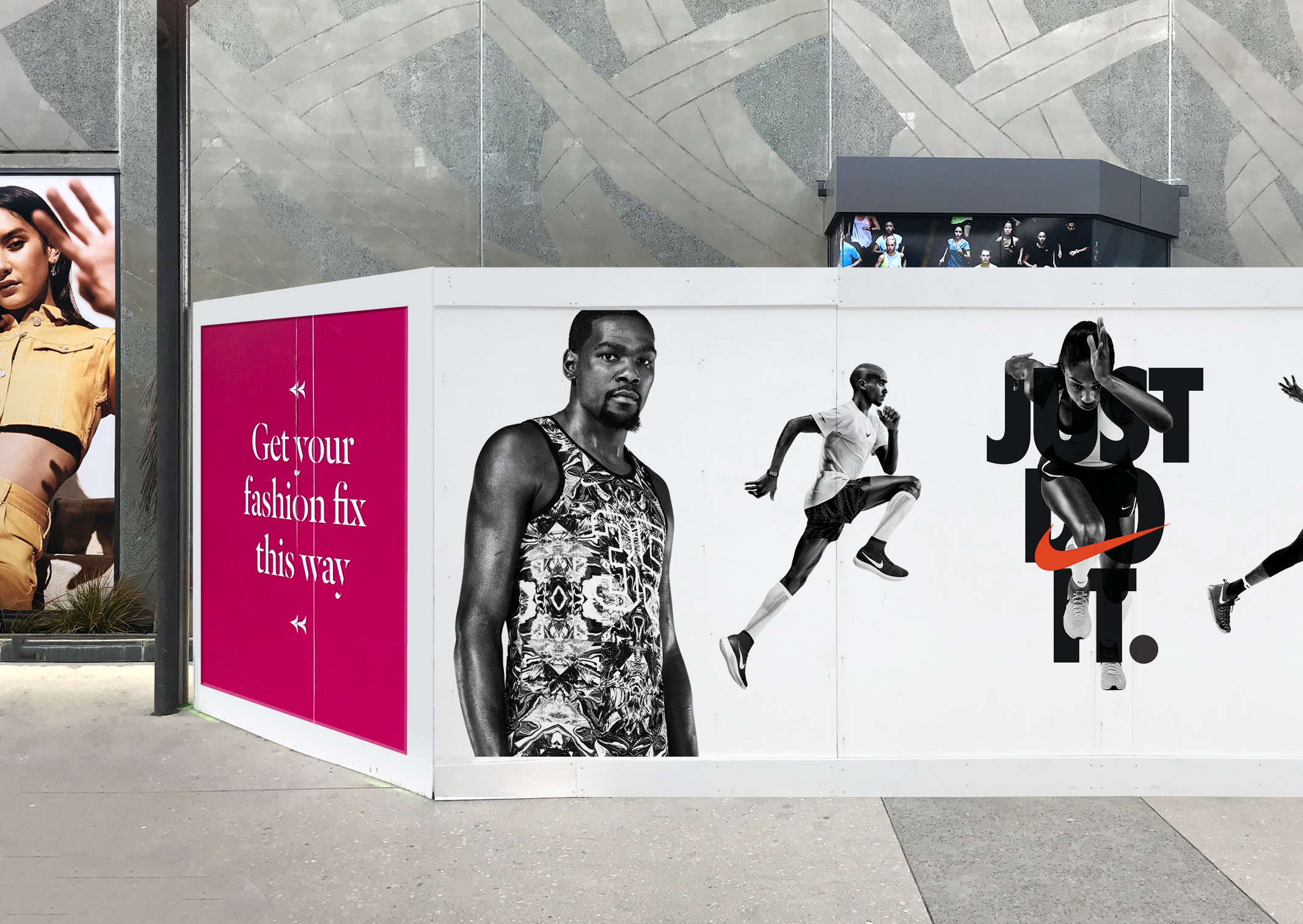 Dramatic Sylvia Park Nike Hoarding with graphic black and white photography and Just do it logo
