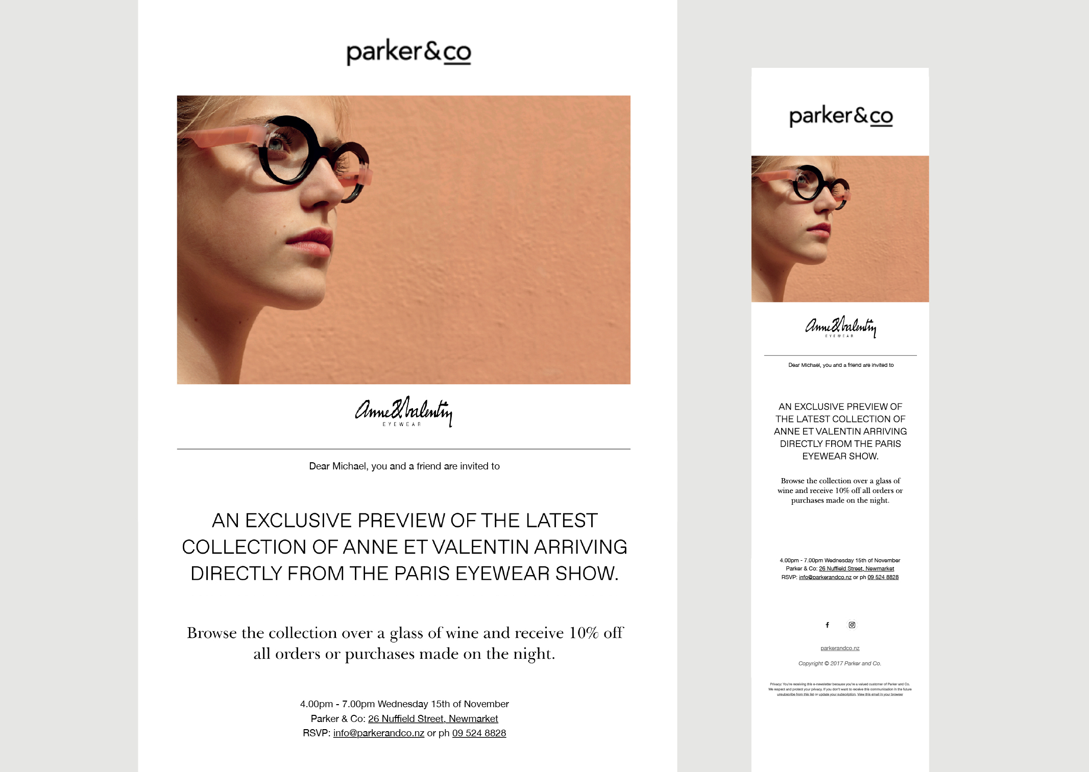 Parker & Co EDM Anne et Valentin Eyewear exclusive preview – desktop and mobile views