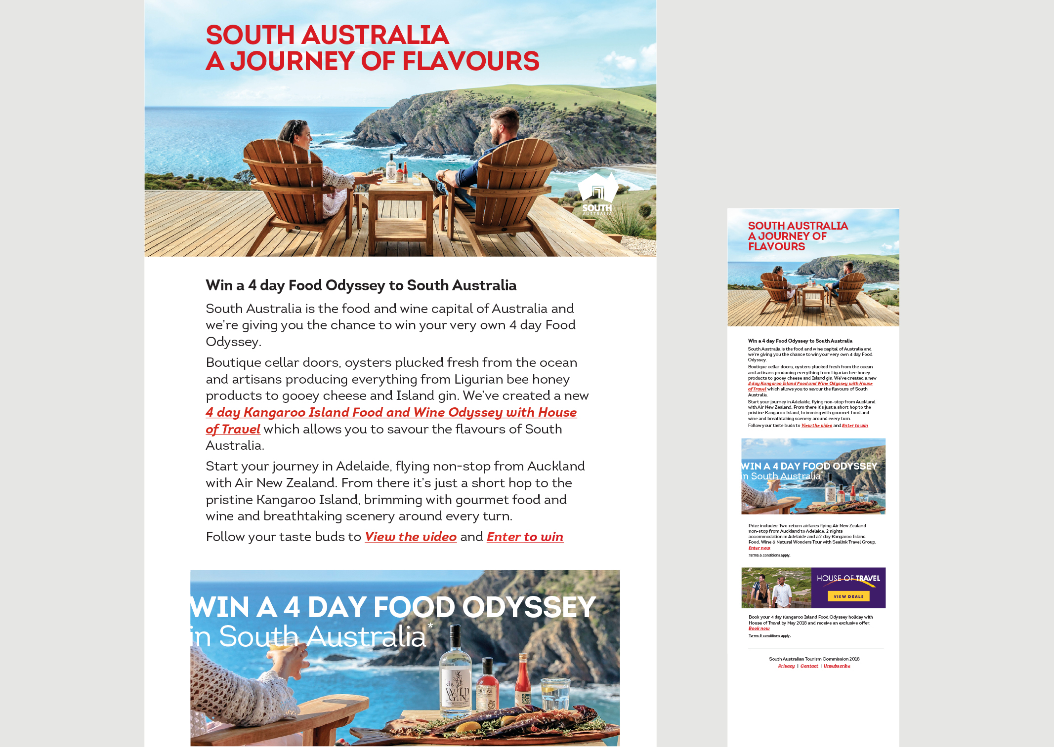 South Australia Tourism EDM promoting 4 Day Food Odyssey Kangaroo Island