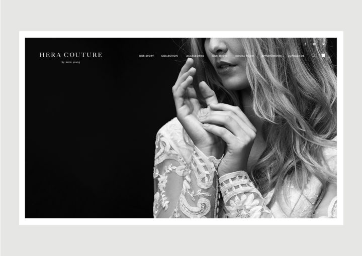 Hera Couture Website Homepage – features intimate close up of bride in lace detail gown