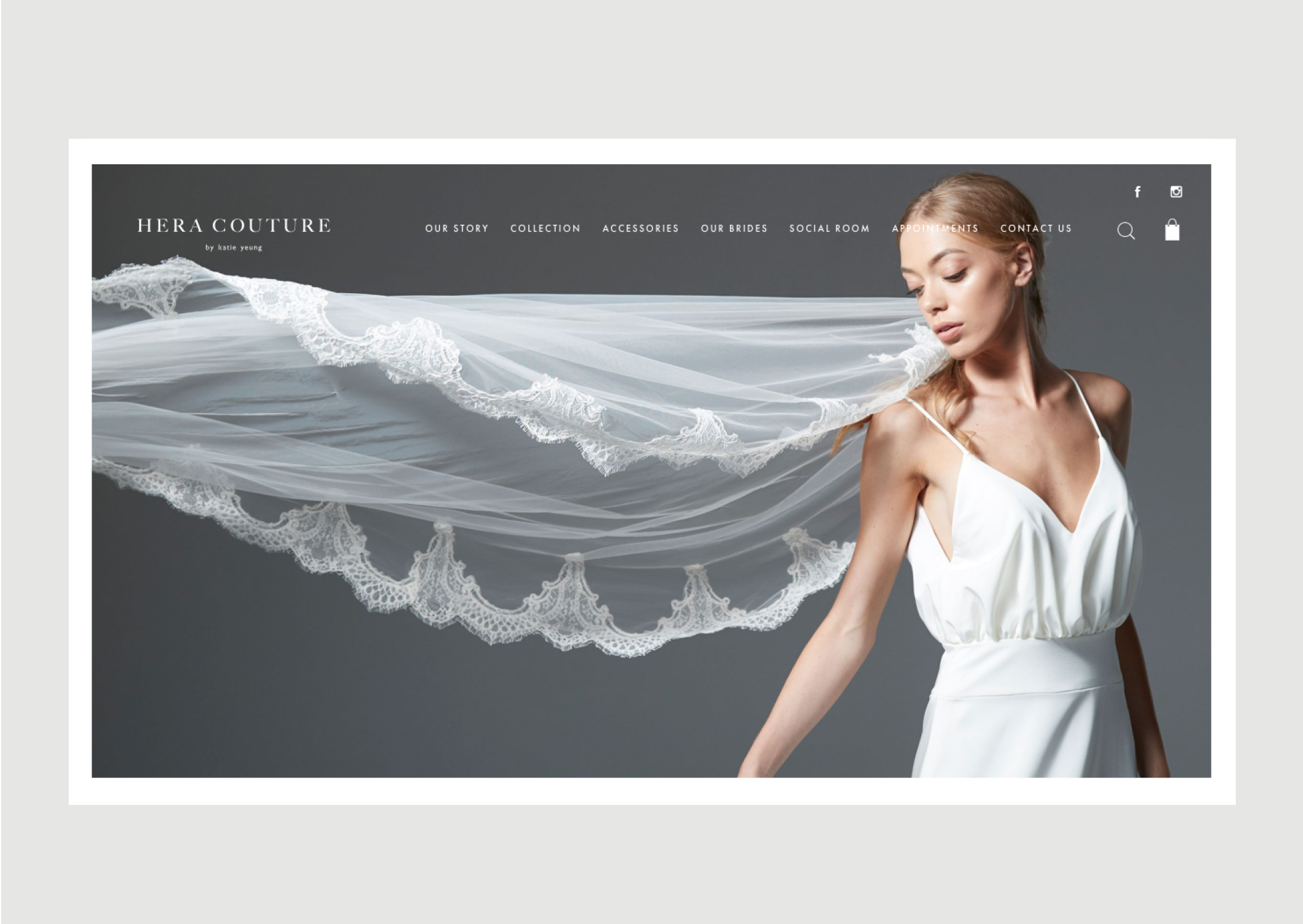Hera Couture Website Homepage – features bride with dramatic flowing lace veil