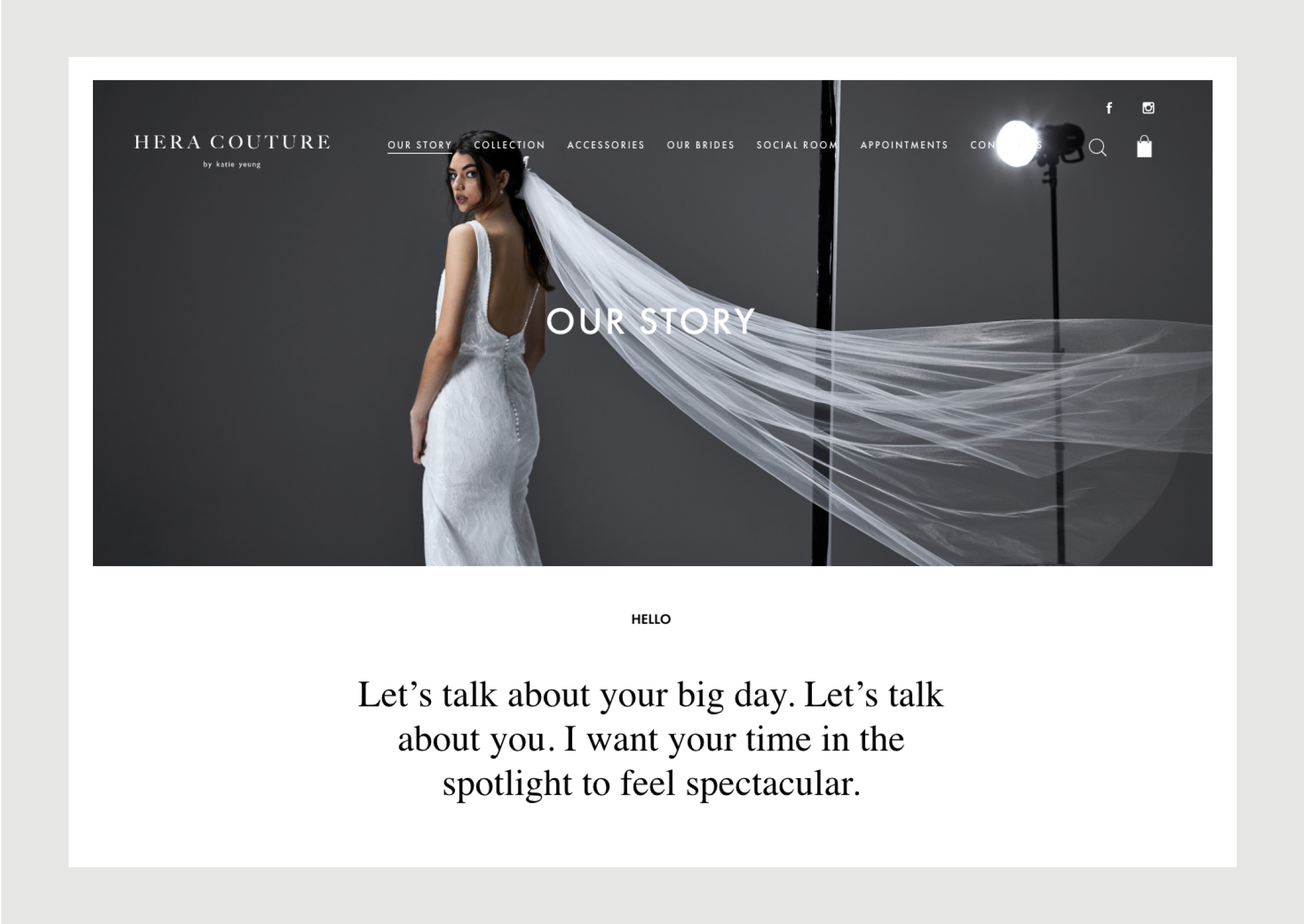 Hera Couture Website Our Story – intimate message from the designer and features sophisticated image of bride with flowing veil