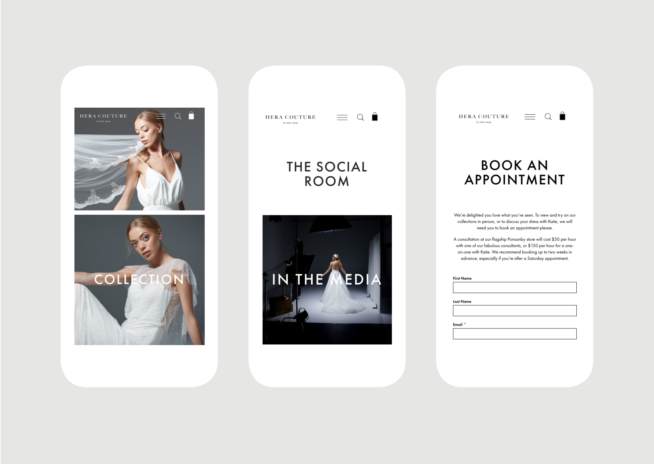Hera Couture website – Key screens on mobile view