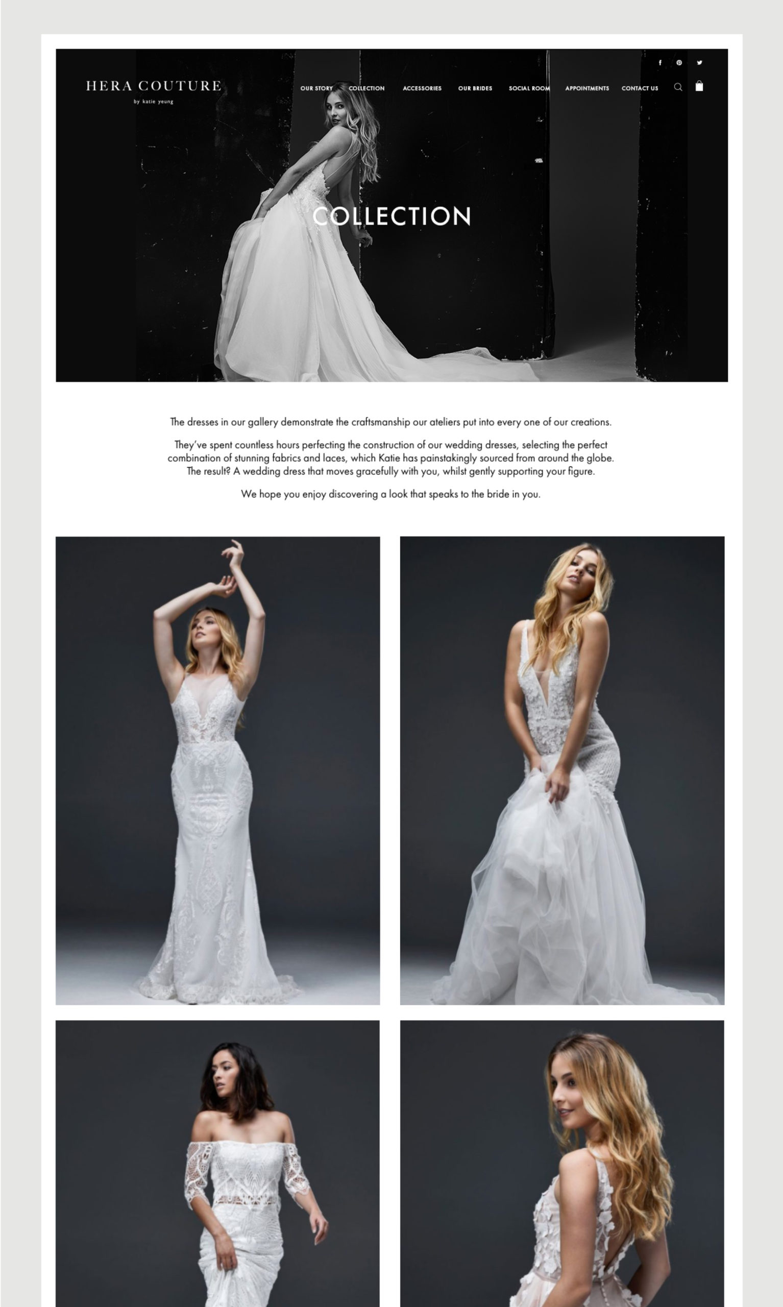 Hera Couture Website Collection Gallery – shows series of 4 feminine gown images