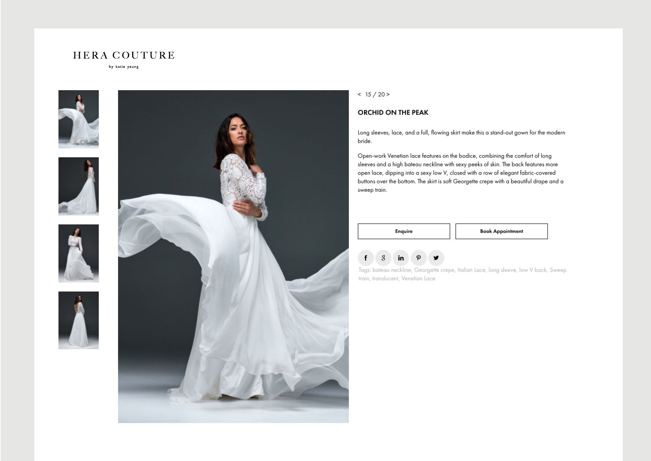 Hera Couture Website Individual Gown page shows dramatic flowing gown and series of smaller thumbnail images