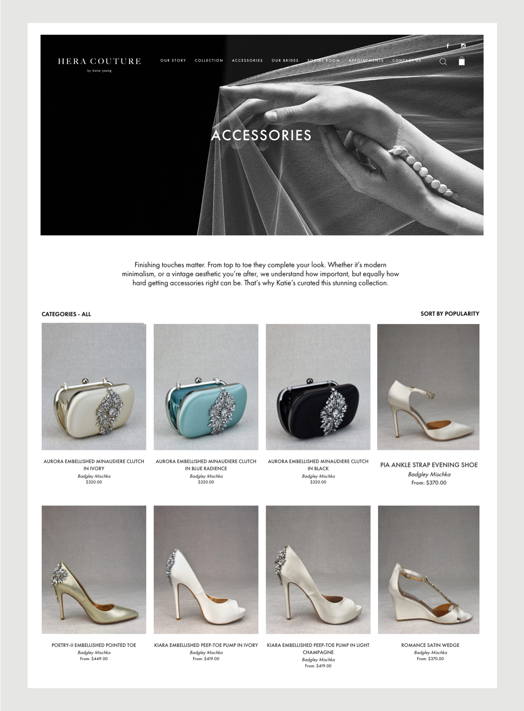 Hera Couture Website Accessories page – e-commerce site – features series of sophisticated shoe and bag images within the Gallery