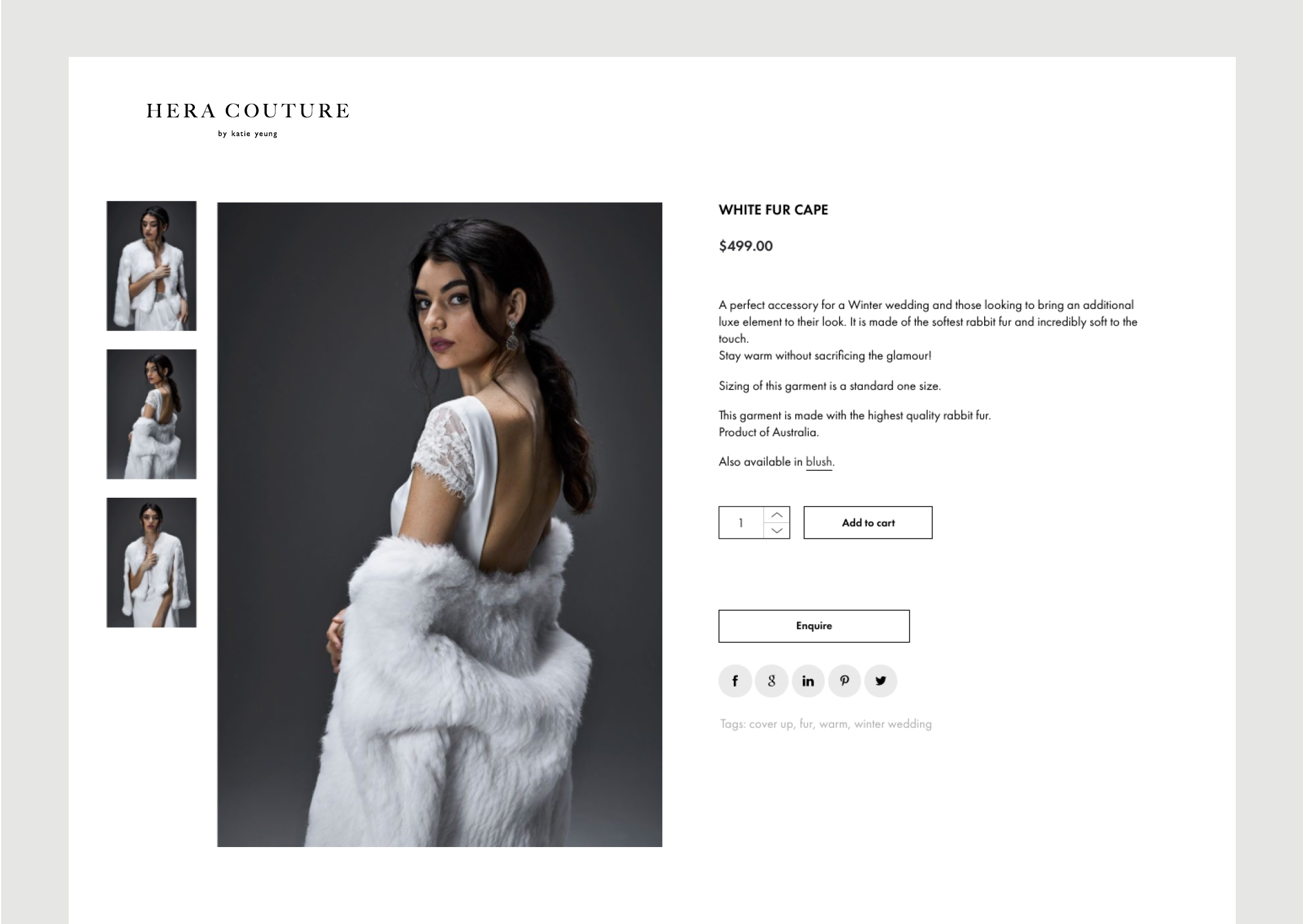 Hera Couture Website Individual Accessories page shows dramatic flowing sumptuous fur cape and series of smaller thumbnail images