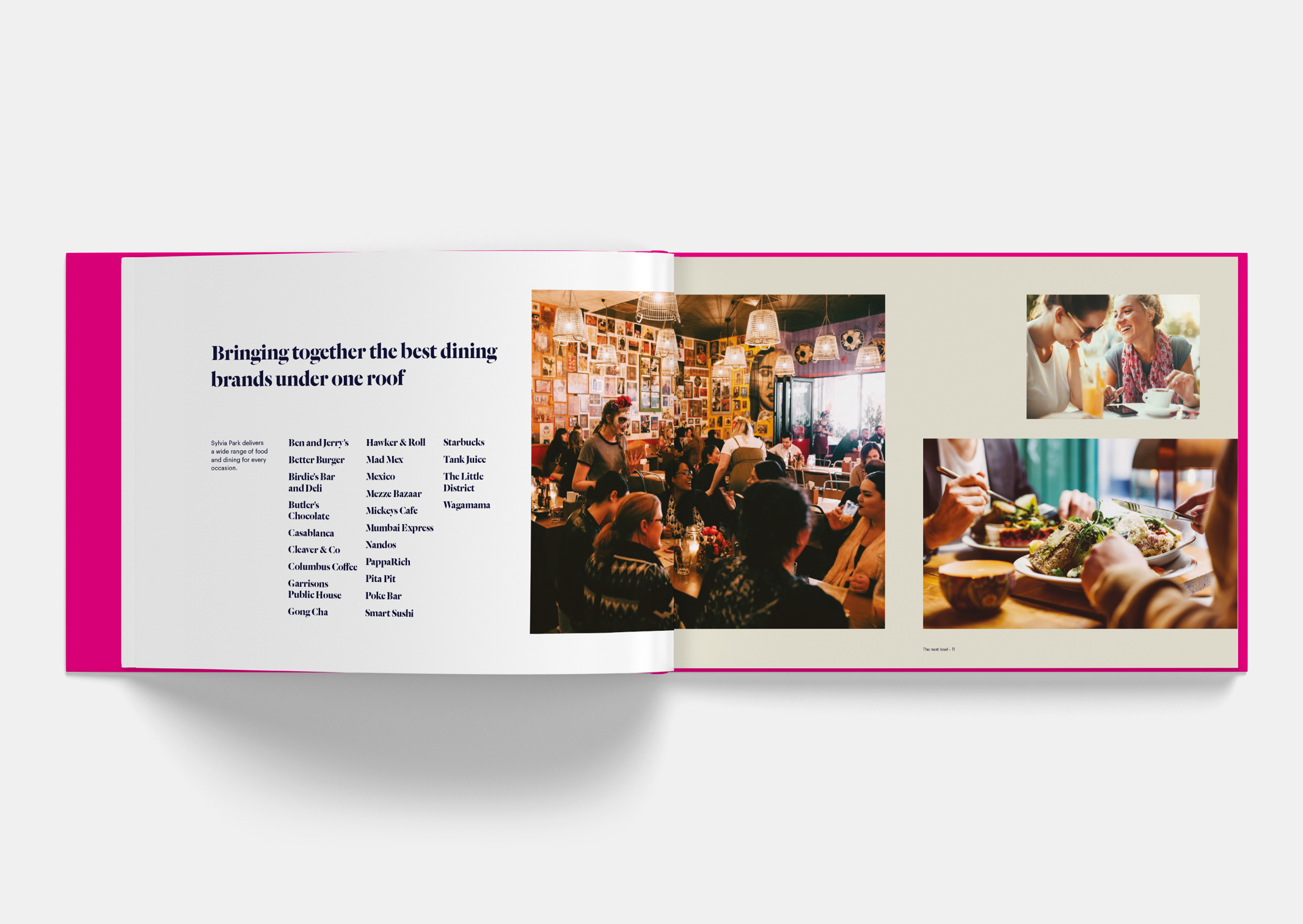 Spread showing People enjoying eating together within Sylvia Park Leasing Brochure