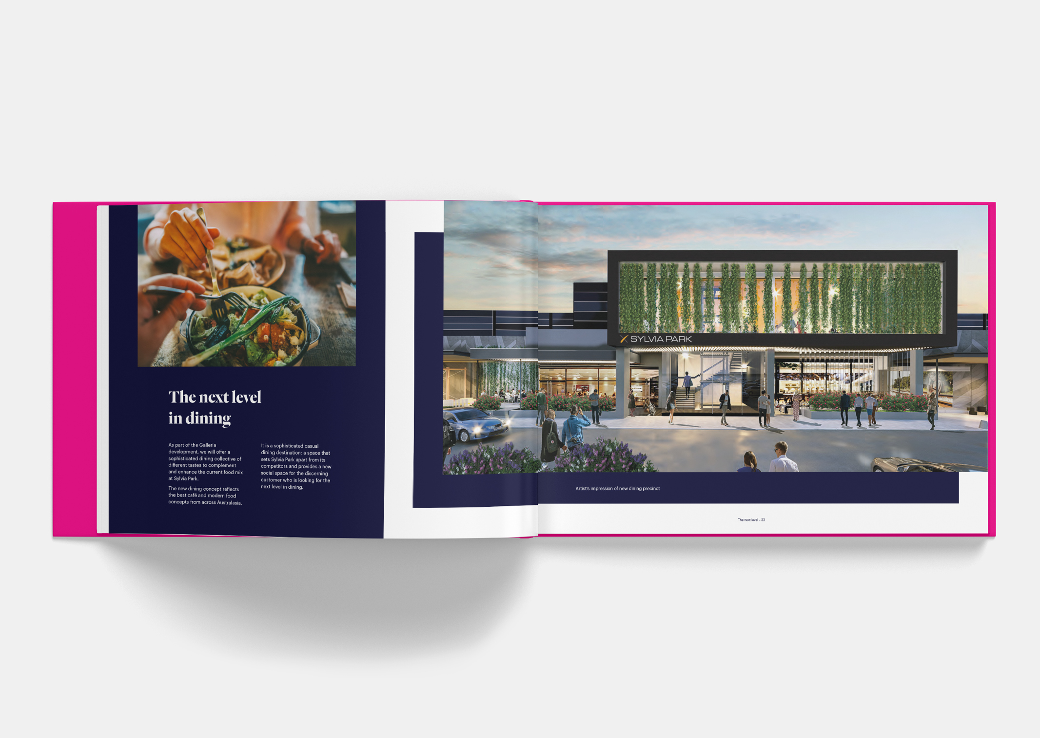 Spread showing food and artist impression of new Dining Precinct Exterior within Sylvia Park Leasing Brochure