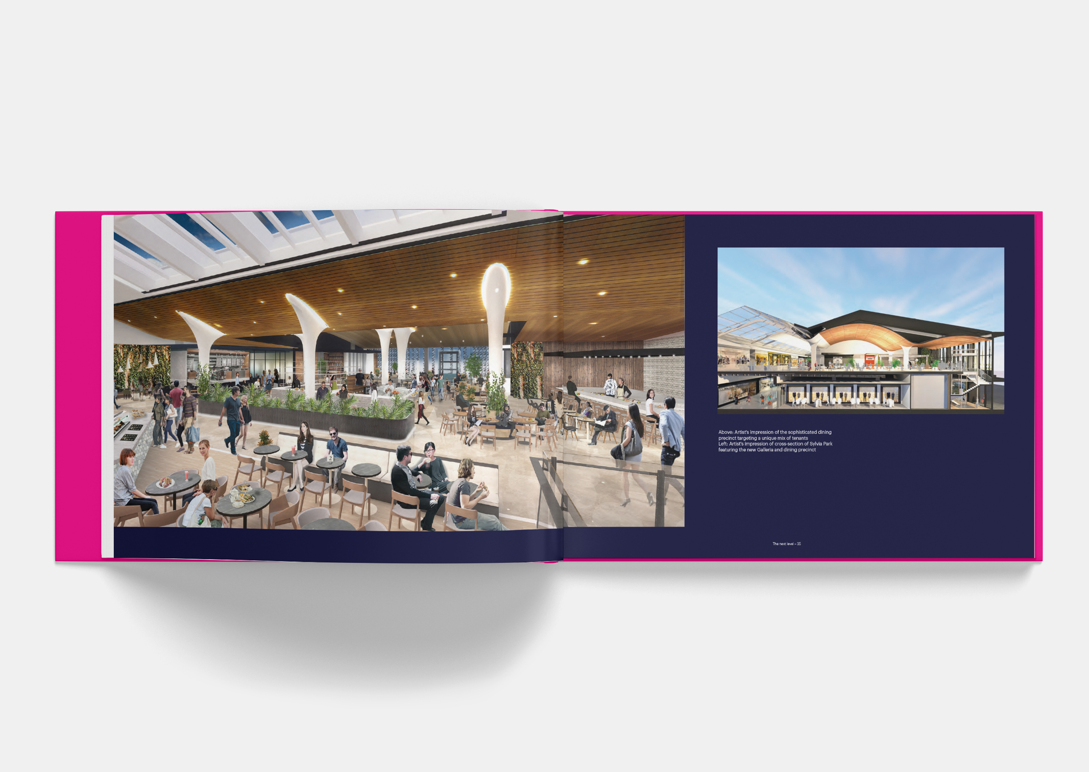 Spread showing artist impression of new Dining Precinct Interior within Sylvia Park Leasing Brochure