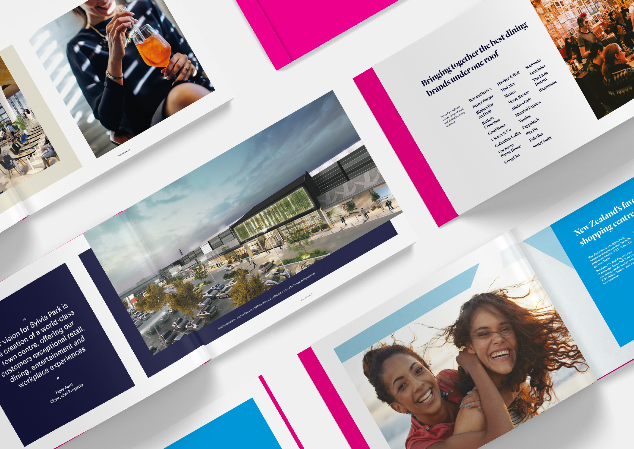 Multiple spreads of Sylvia Park Leasing Brochure showing dramatic imagery