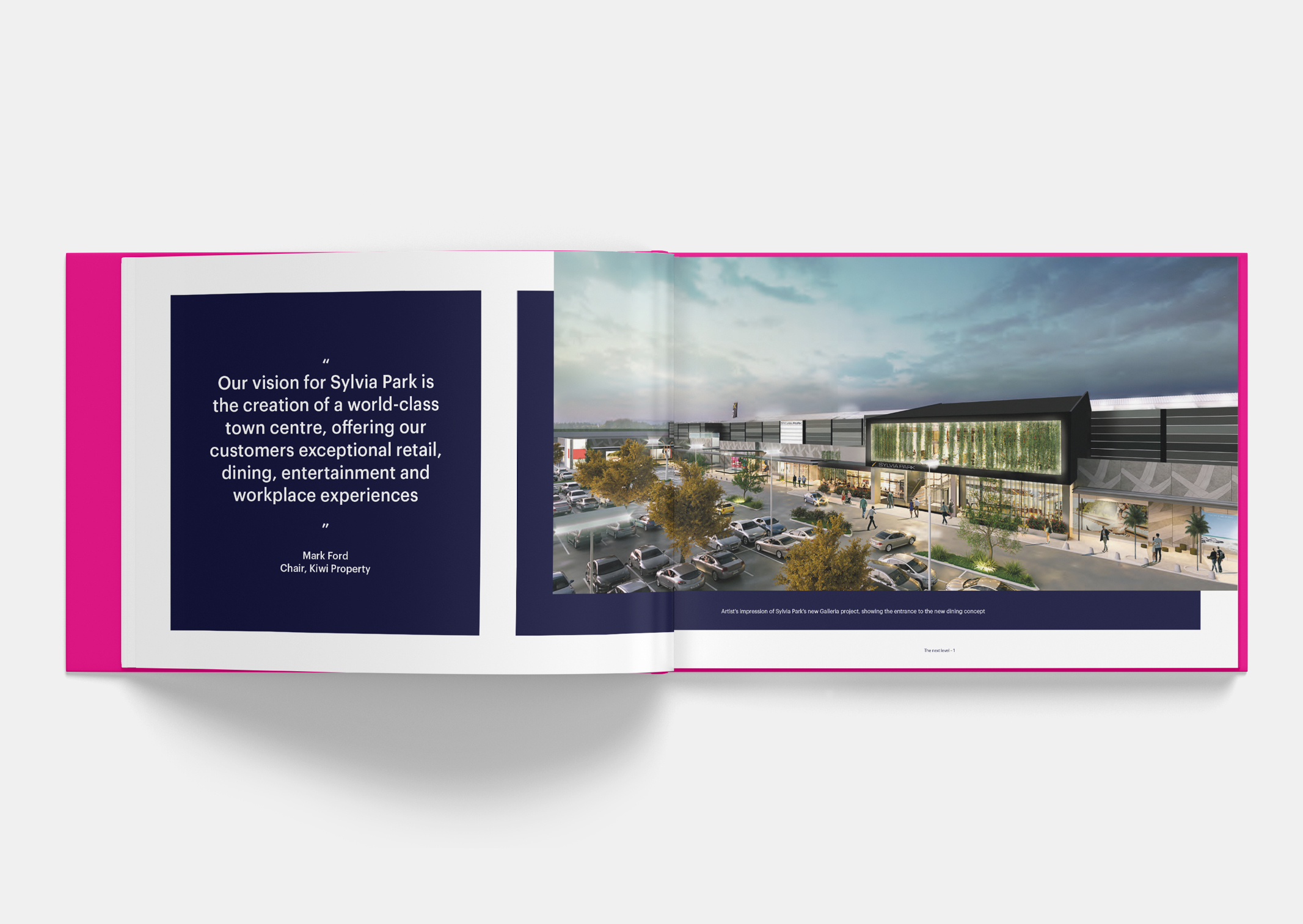 Vision statement spread showing artist impression of development within Sylvia Park Leasing Brochure