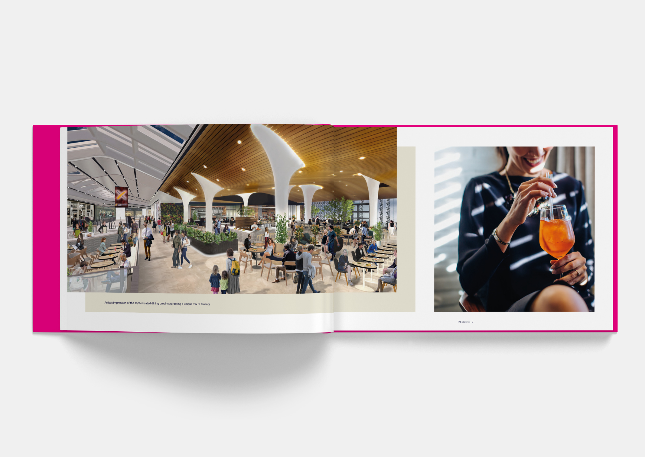 Spread showing artist impression of dining precinct within Sylvia Park Leasing Brochure