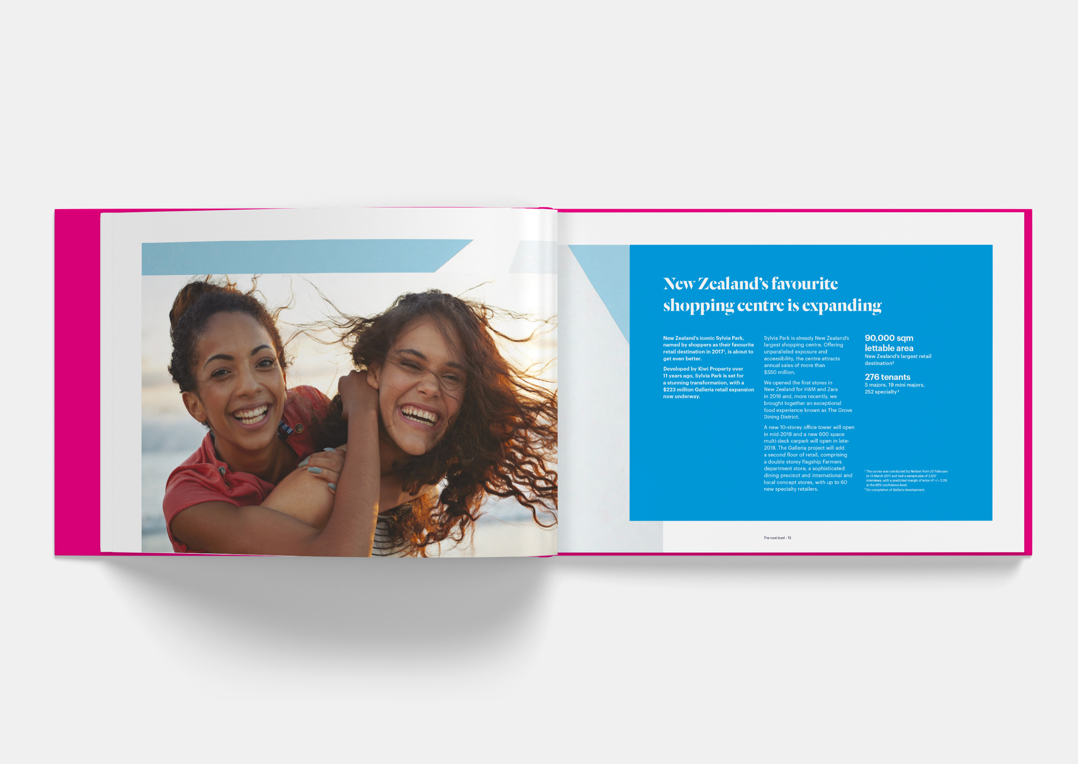 Spread showing Kiwi girls laughing within Sylvia Park Leasing Brochure