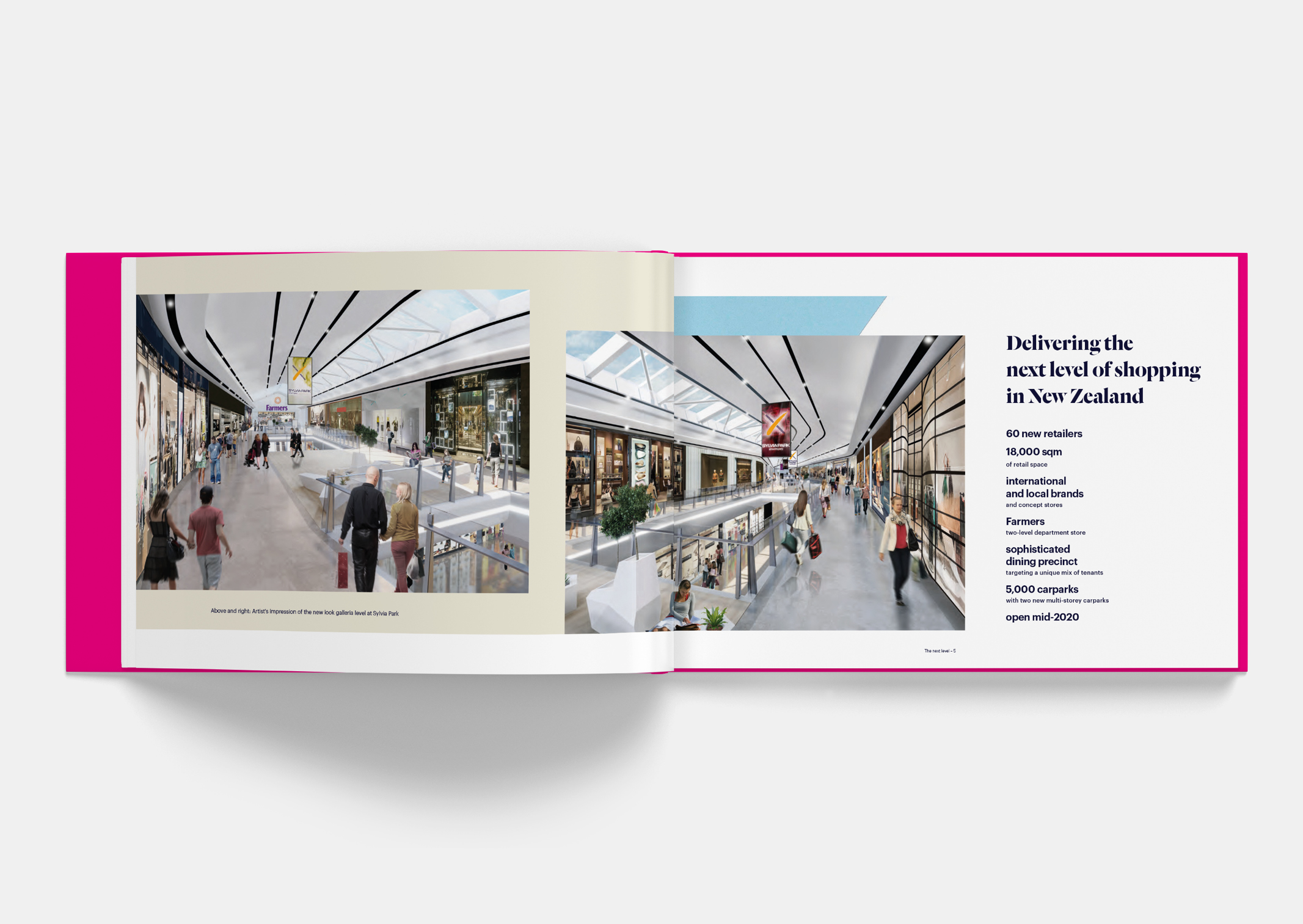 Spread showing artist impression of new Shopping Galleria within Sylvia Park Leasing Brochure