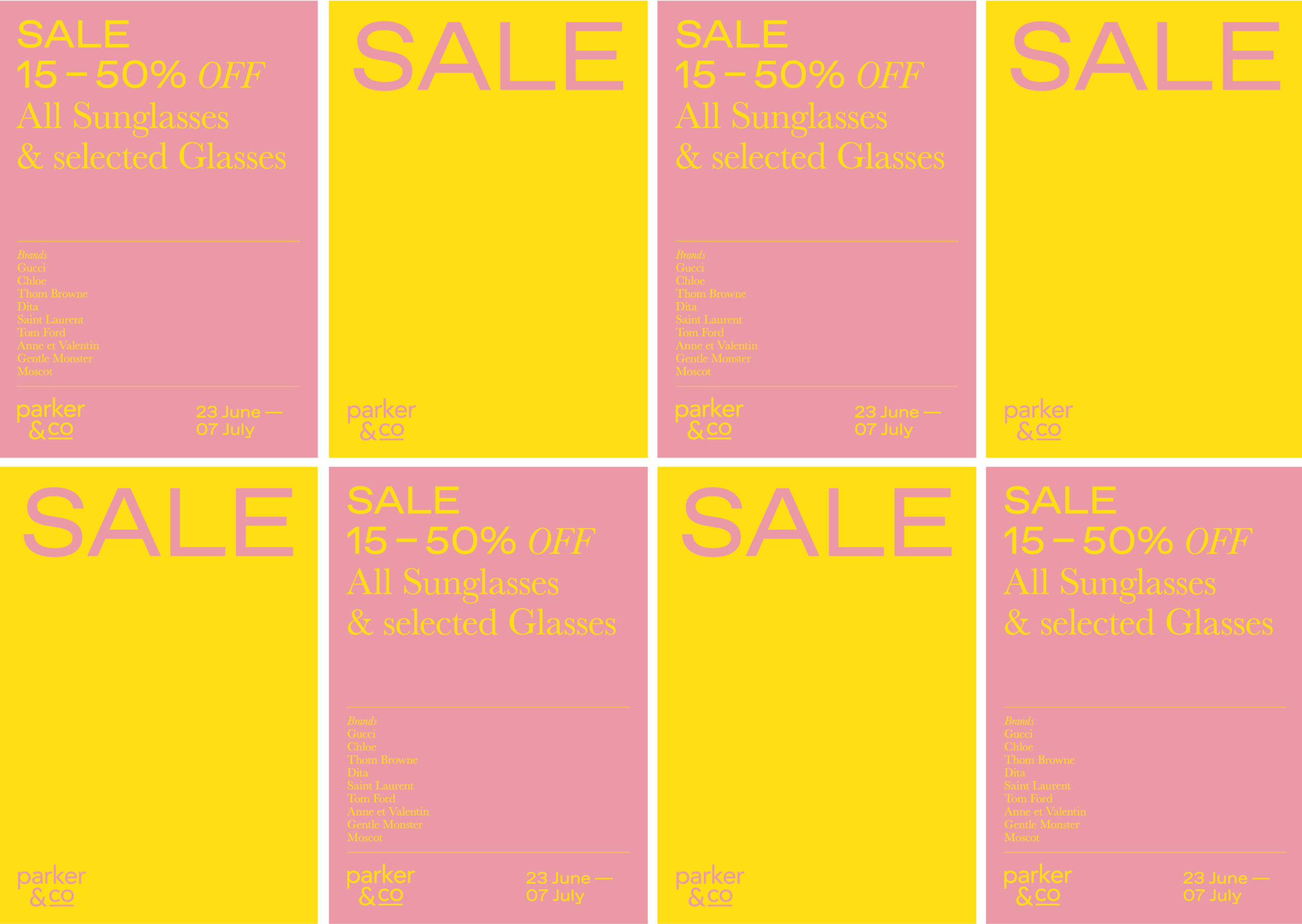 Parker and Co Winter Sale Billboard series – features multiple panels of yellow and blush pink colours and modern typography