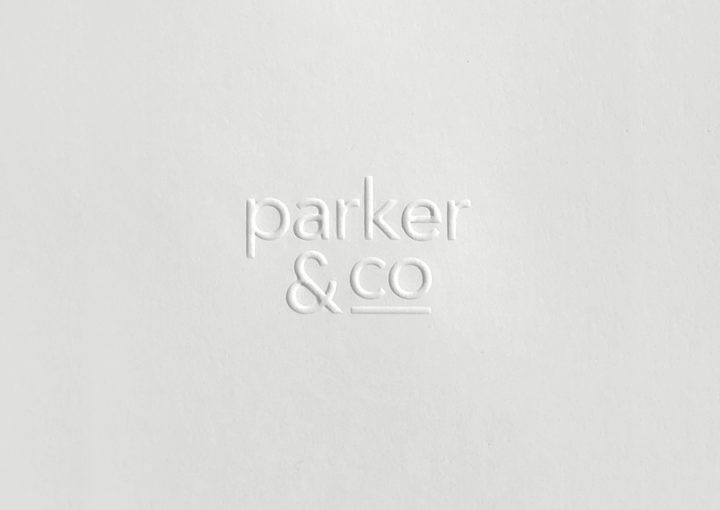 Parker and Co Branded Pocket – close up of blind emboss – white on white