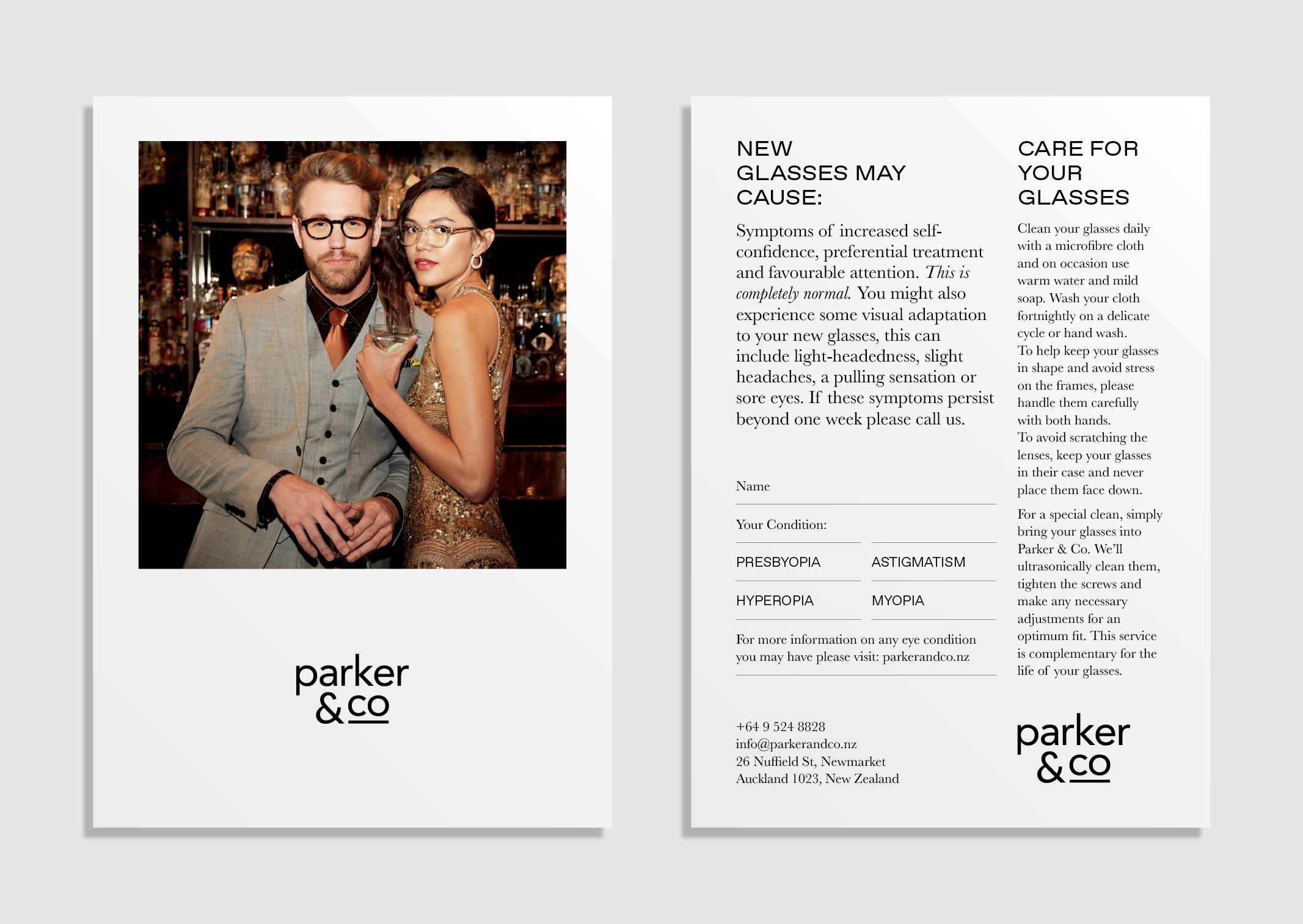 Parker and Co Branded Postcard – customer point of sale touchpoint – features Moscot brand image and after sales information