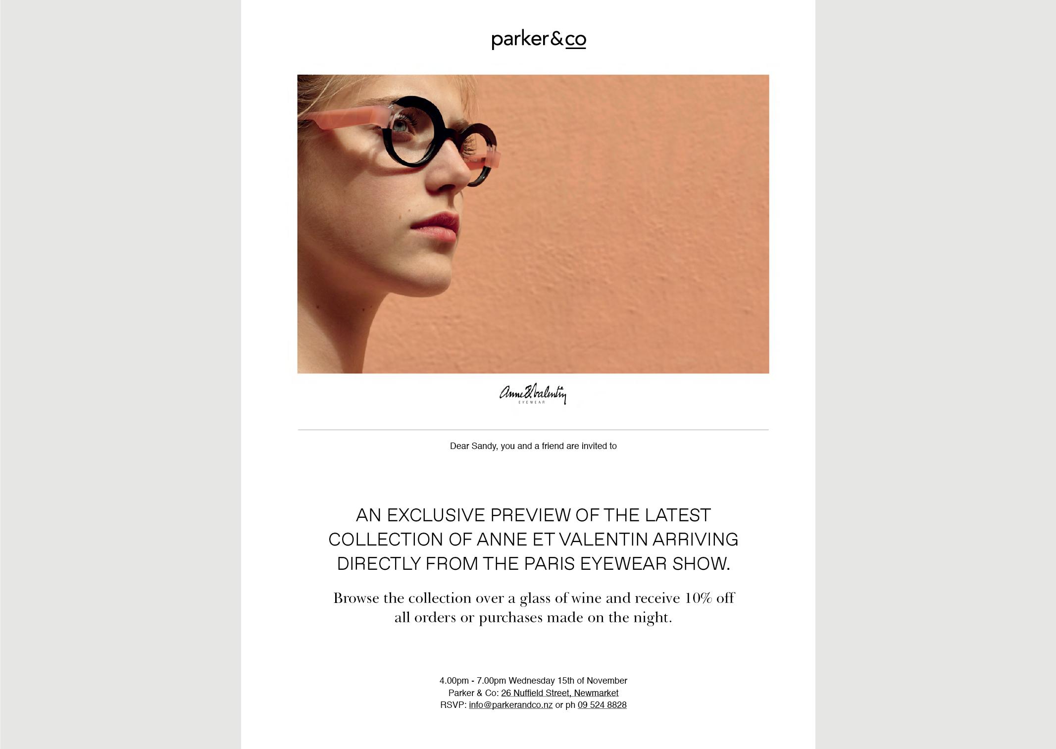 Parker & Co EDM Anne et Valentin Eyewear exclusive preview – desktop view – features dramatic view of eyewear