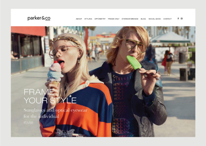 Parker and Co website homepage – features new Styling Service and Gucci 2018 campaign image