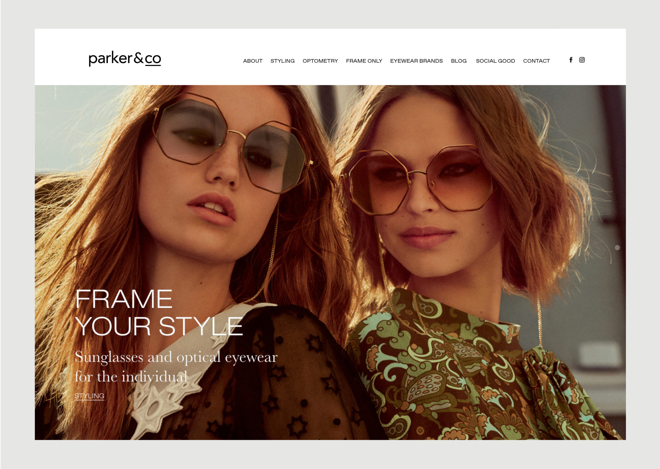 Parker and Co website homepage – features new Styling Service and Chloe 2018 campaign image