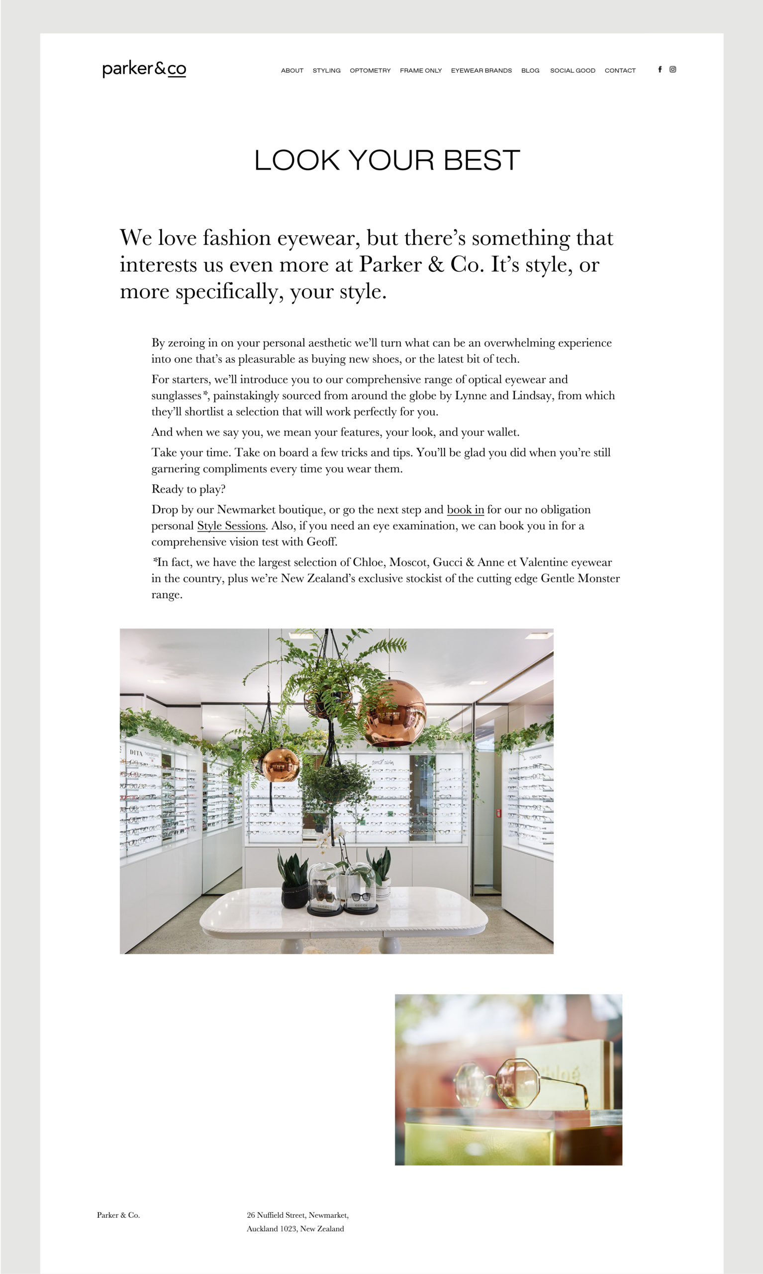 Parker and Co website – About page – Copy introduces the business and shows image of store interior