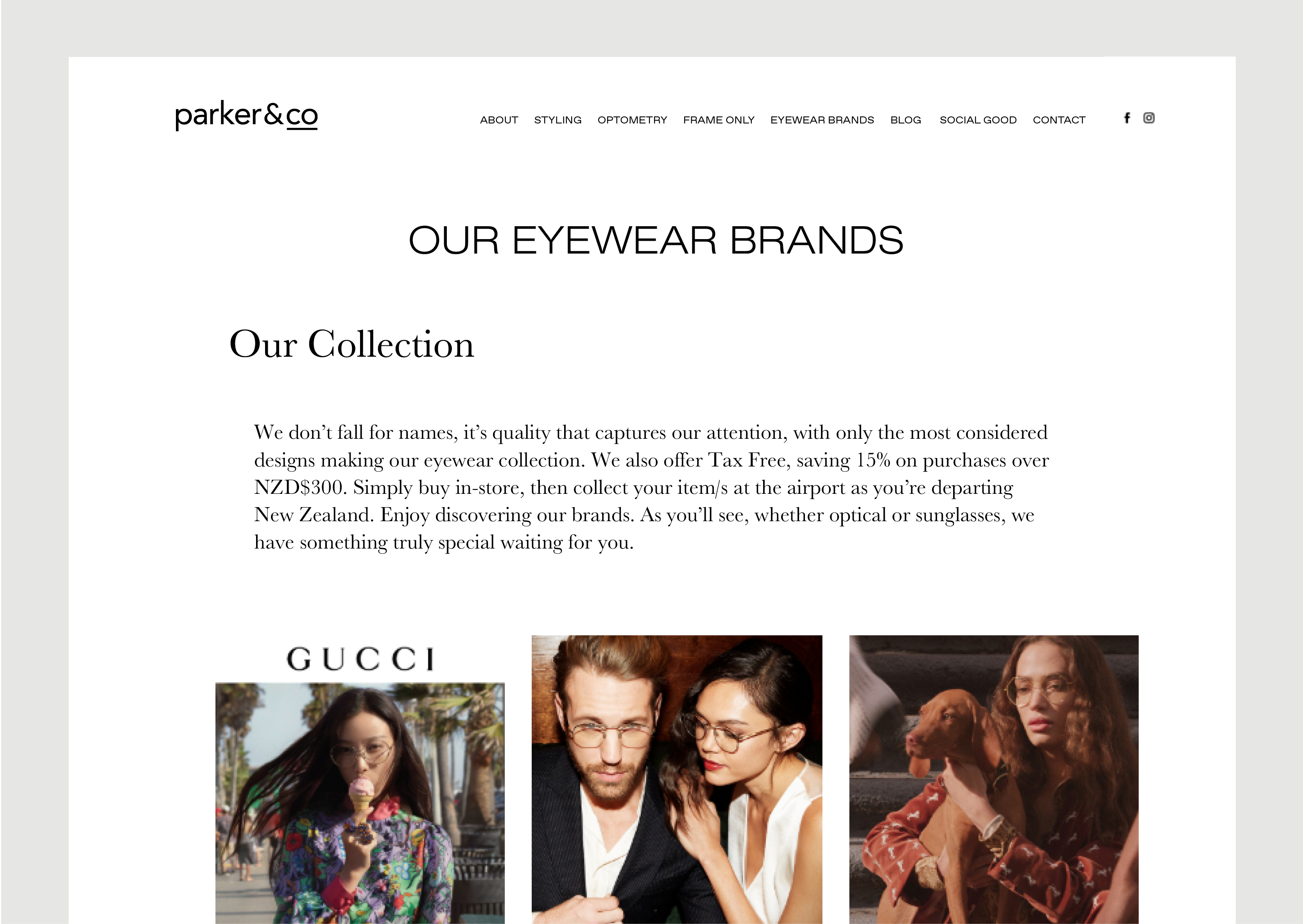Parker and Co website – Eyewear Brands page – shows images of designer brands and large introductory copy