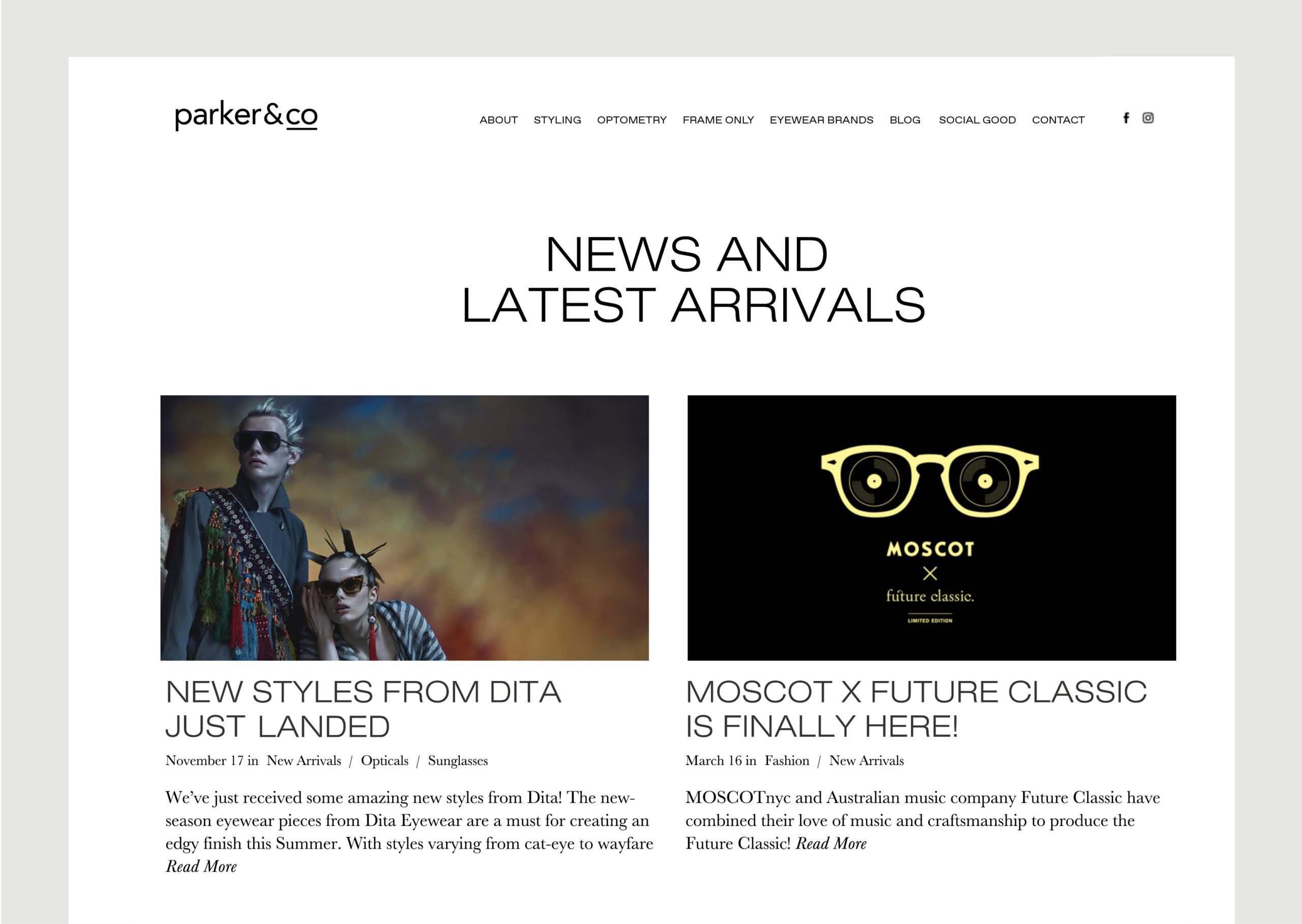 Parker and Co website – News page – shows latest articles and images