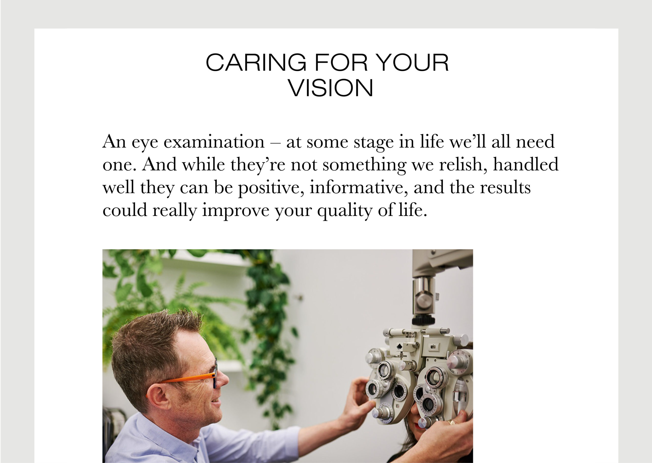 Parker and Co website – Optometry page shows Geoff Parker performing eye test and large introductory copy