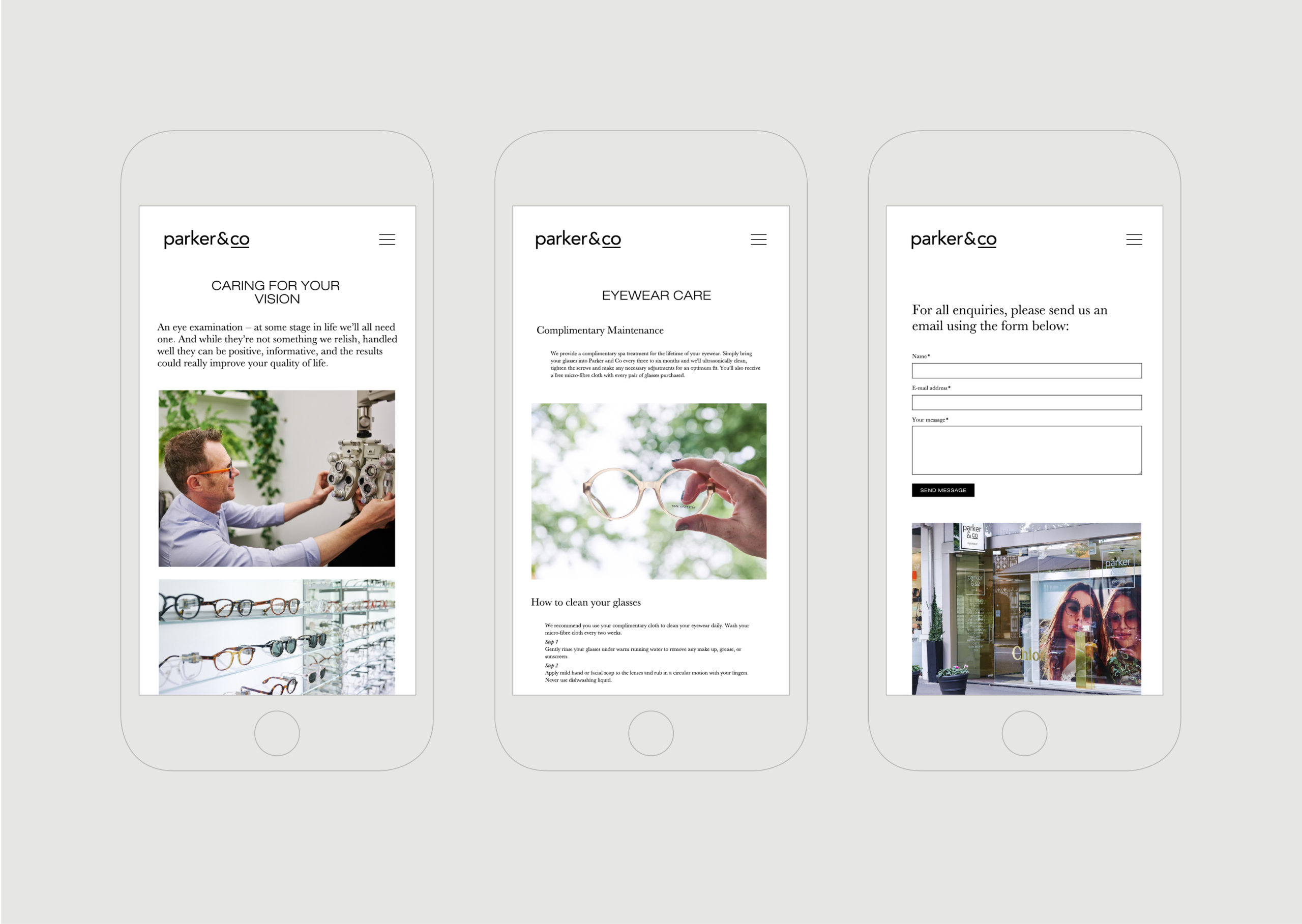 Parker and Co website – multiple views on mobile of key pages