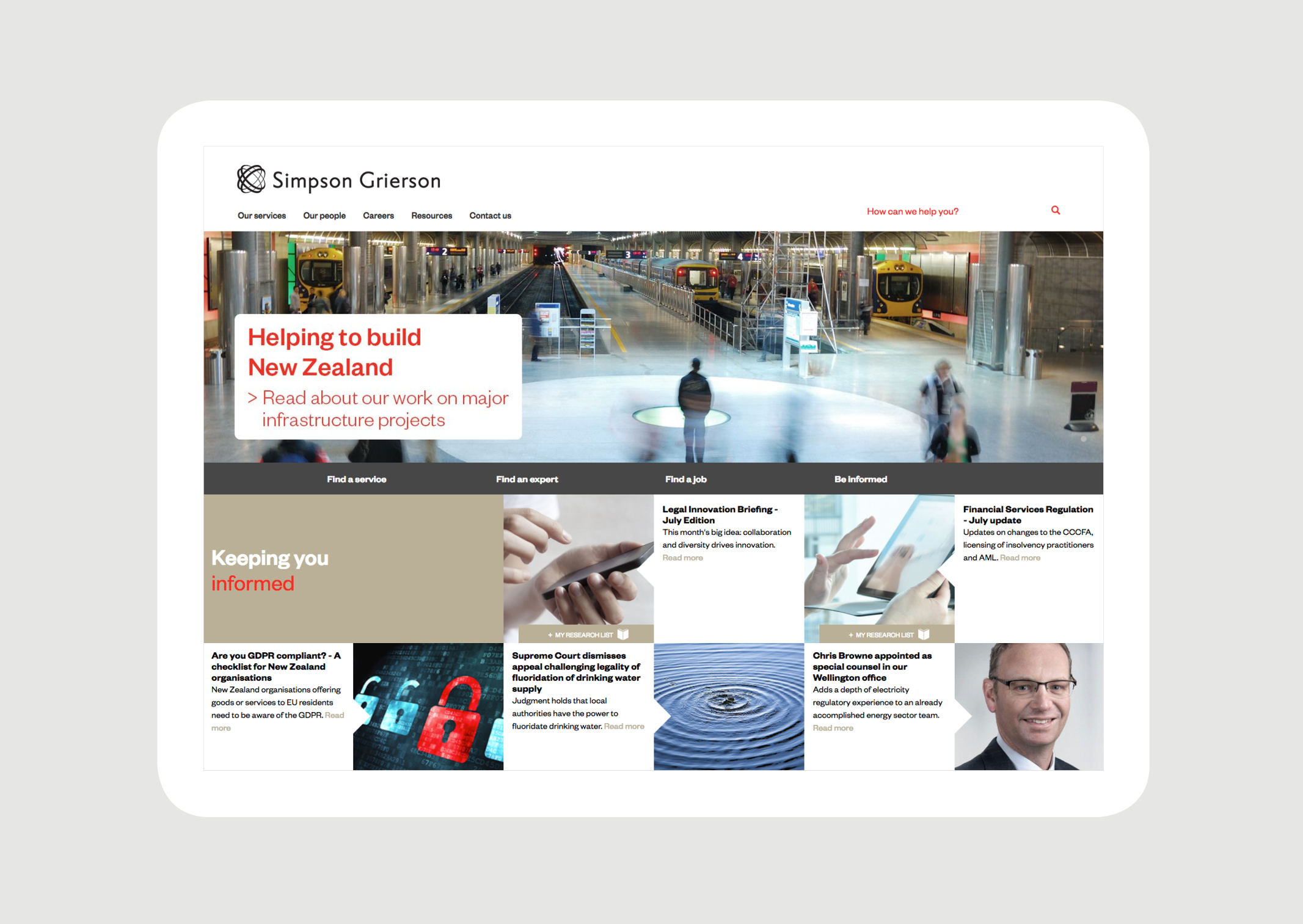 Simpson Grierson Website Homepage – featuring key navigation and news panels and full colour imagery