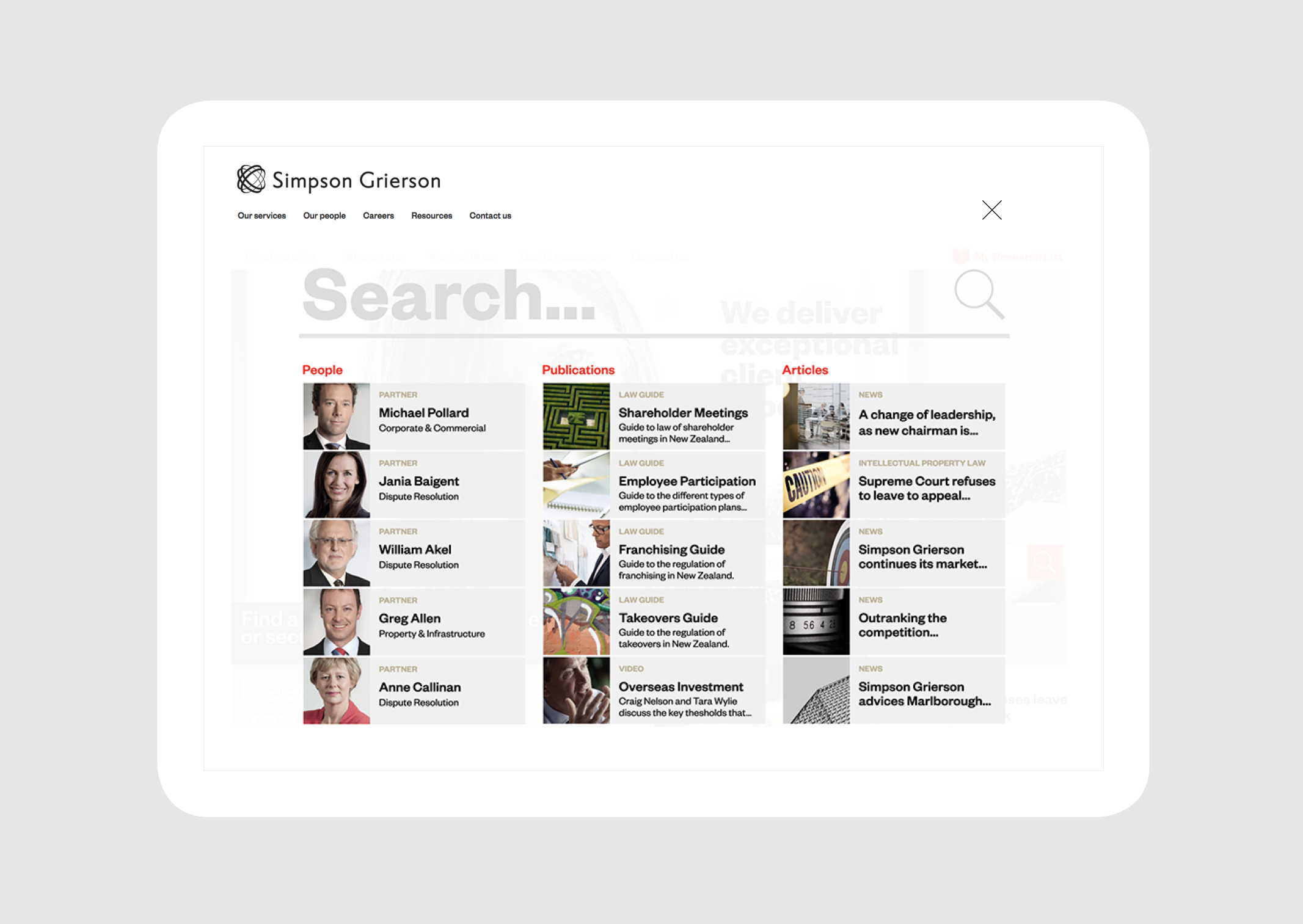 Simpson Grierson Website Search – featuring key search categories and thumbnail images