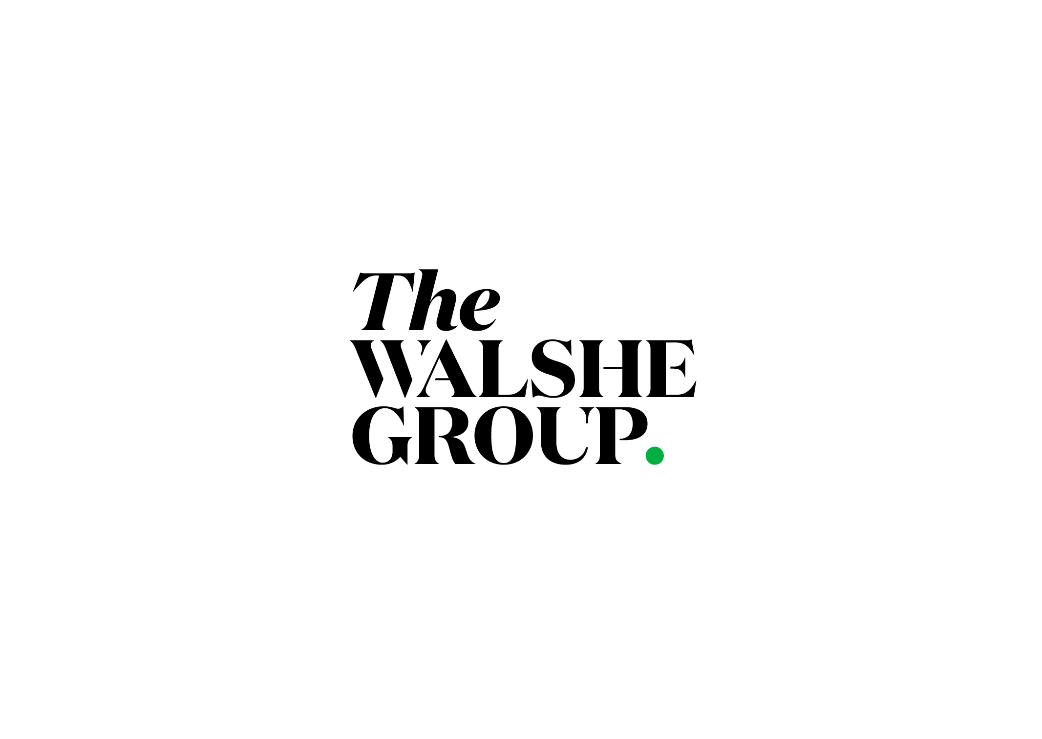 The Walshe Group Identity – Impactful serif typography with bright green full stop