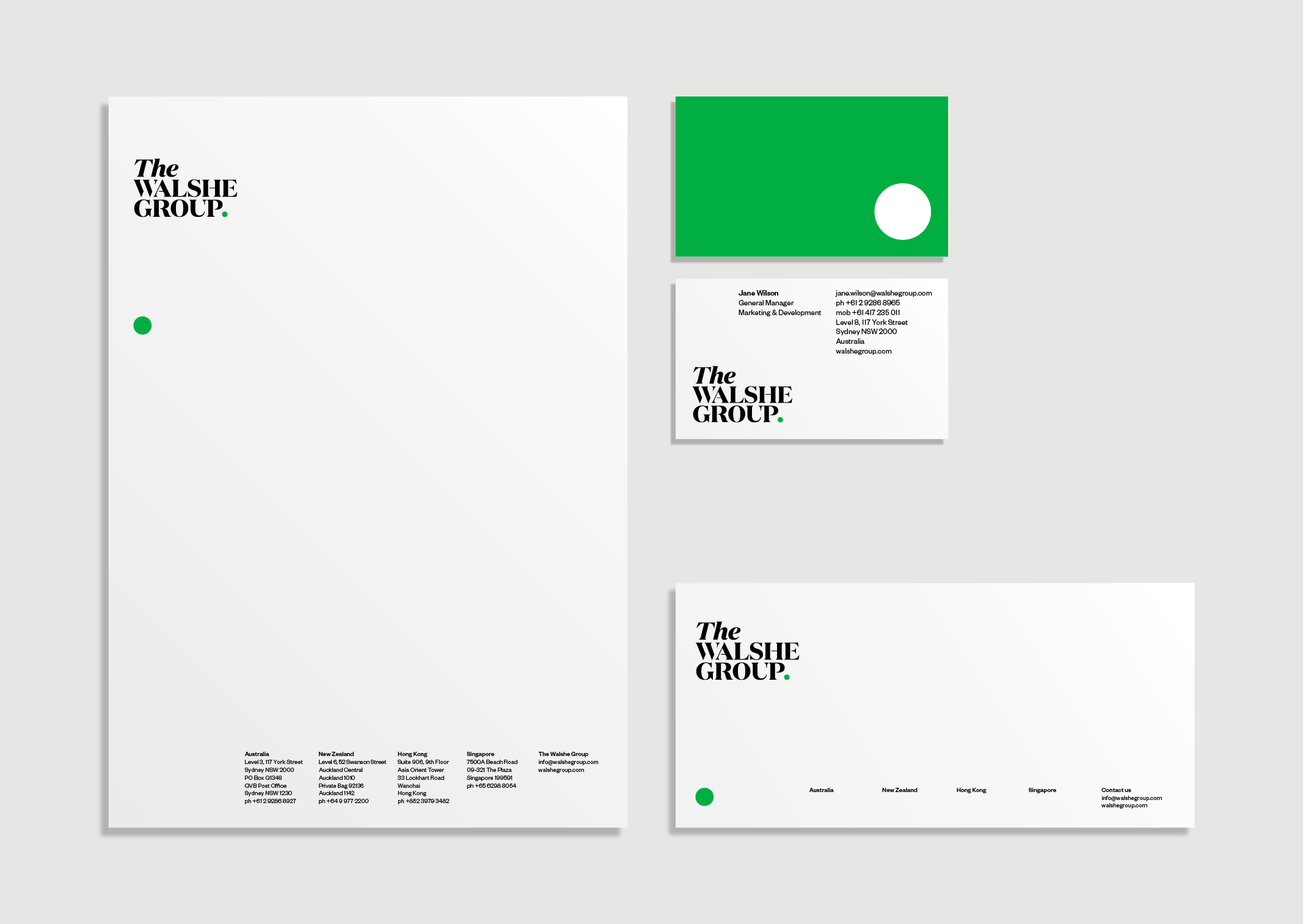 The Walshe Group Stationery – Business cards, letterhead with bright green reverse and white full stop