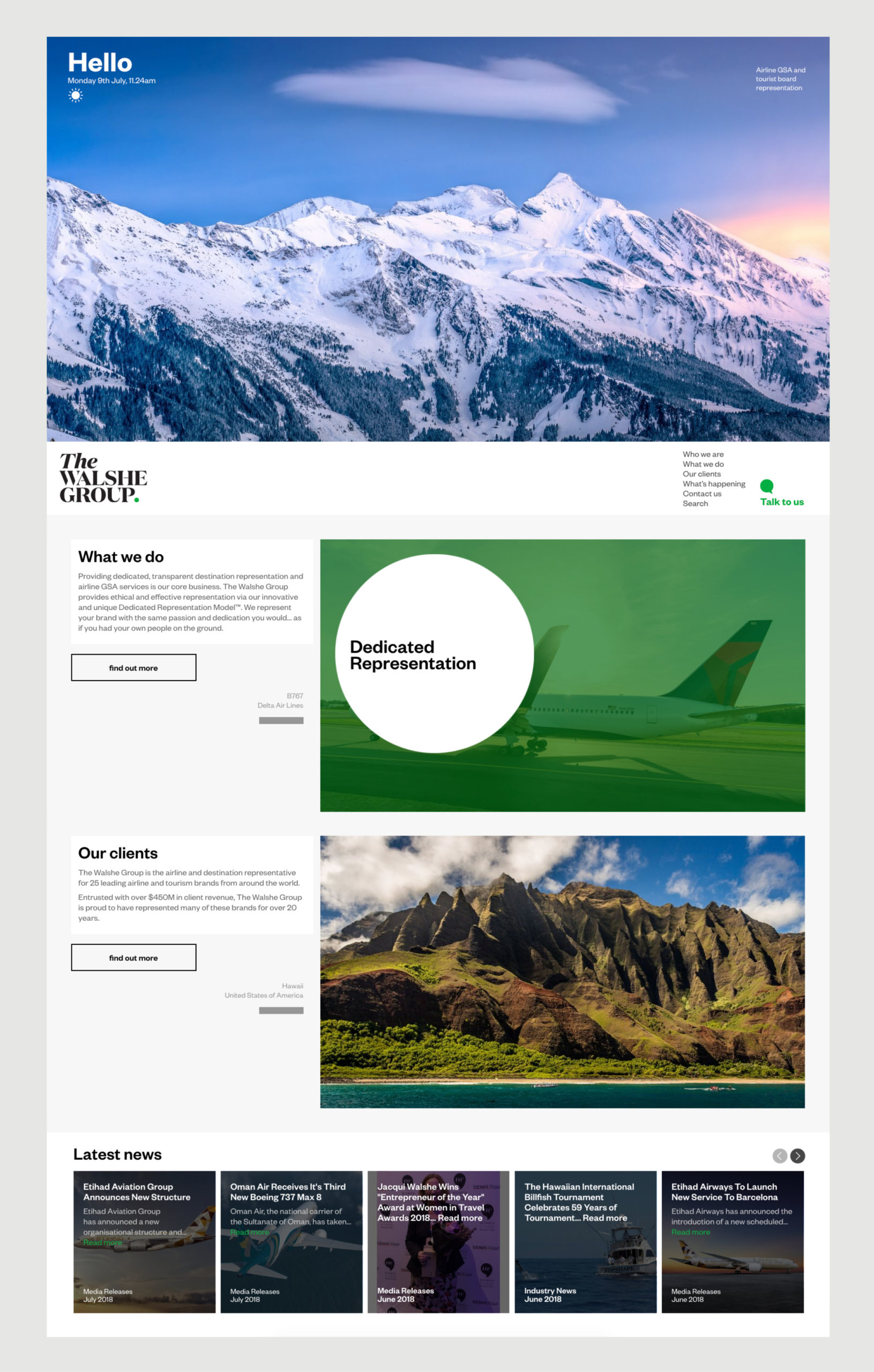 The Walshe Group Website Homepage – features image of Snowy Mountains and Greeting message