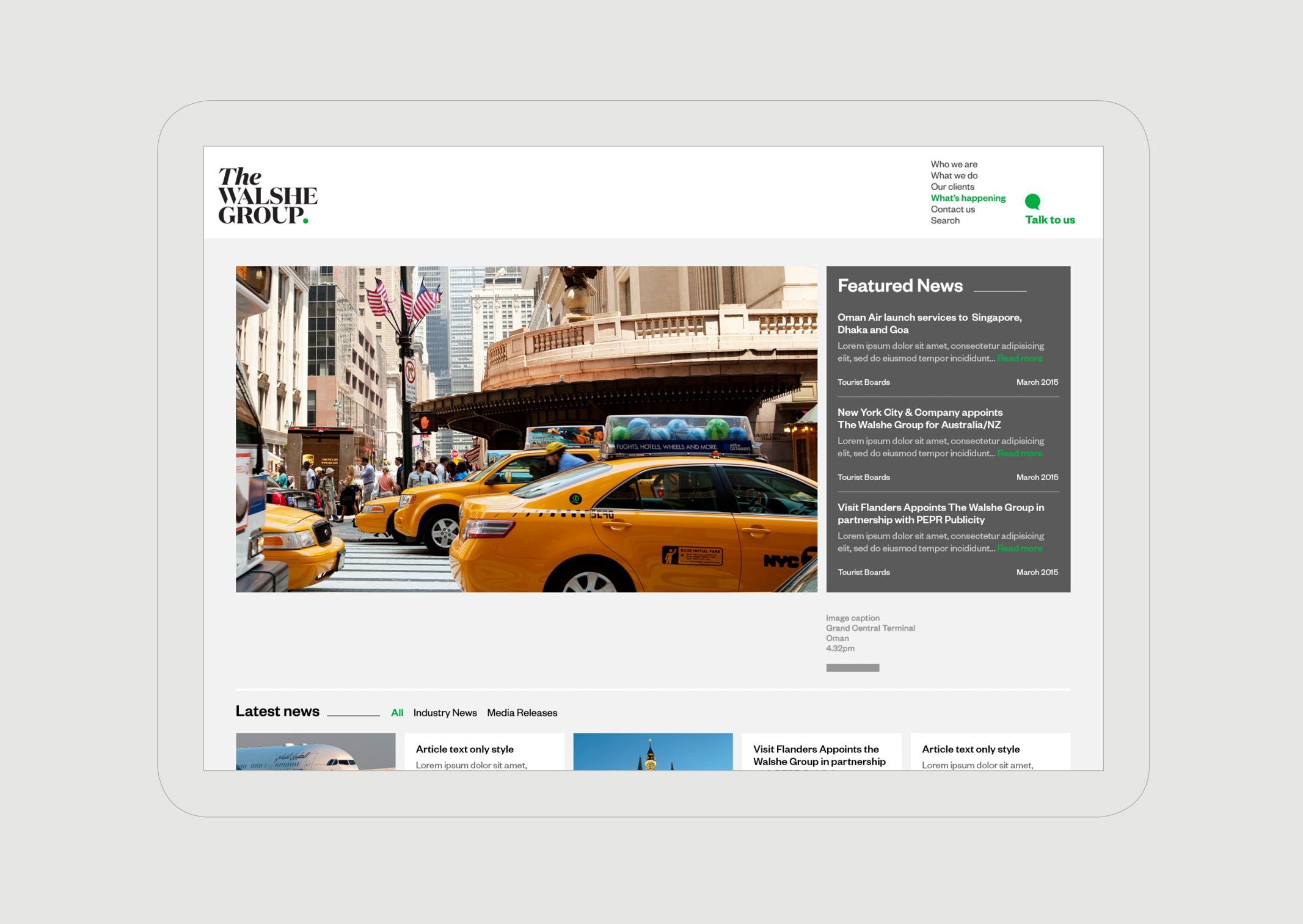 The Walshe Group Website – News Page showing Featured Articles and NYC Taxi image